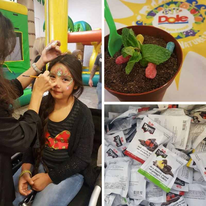 Face Painting, Dole Treats and the cutest Ice Cream pot (cookie crumbs cover the ice cream)