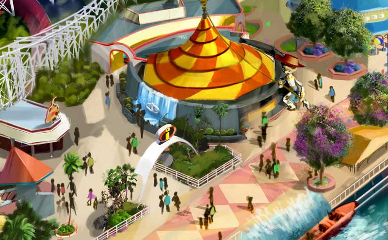 Rendering of the Re-themed Carousel and entrance to the Incredicoaster via Disney Blog