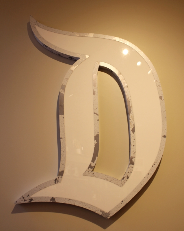 Old school D sign perfect over a fireplace or in a kitchen.