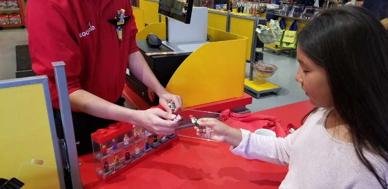 """Mini Figure Trading at Legoland. Look for """"Model Citizens"""" name badges for more choices too!"""