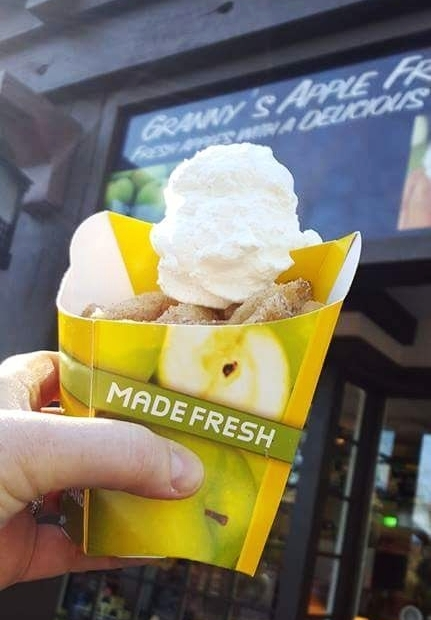 Granny's Apple Fries with whipped cream located on Castle Hill.