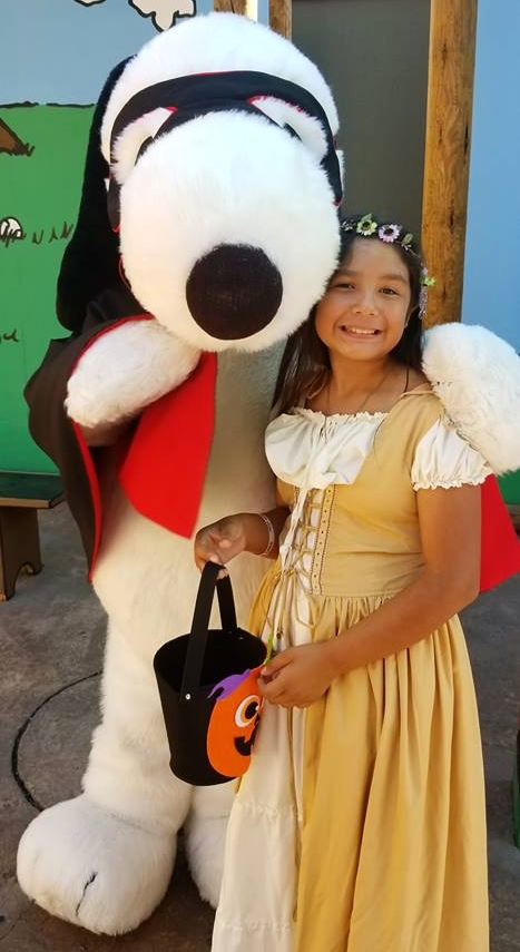 Her absolute favorite! See Snoopy and his gang in their Halloween Costumes during Spooky Farm.
