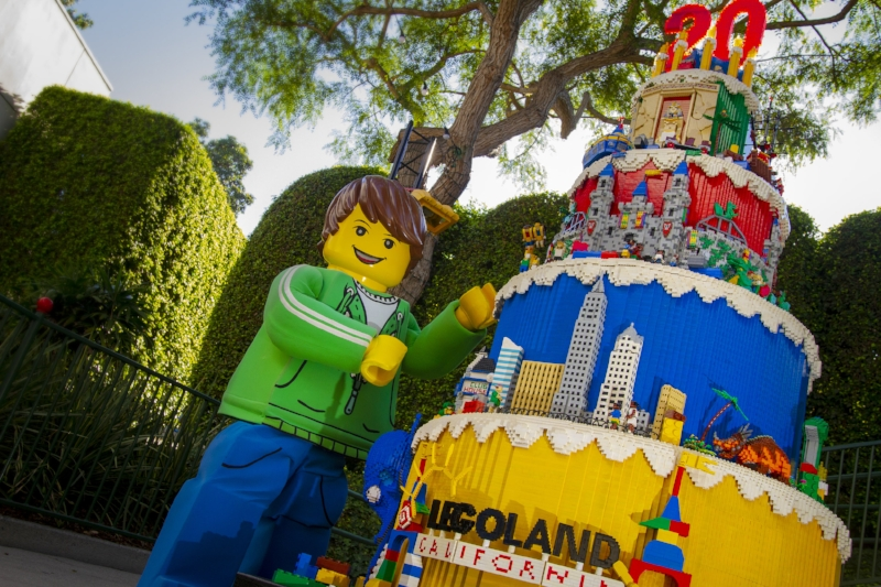 This Lego Cake Stands seven- feet tall and created out of more than 51 thousand LEGO® bricks