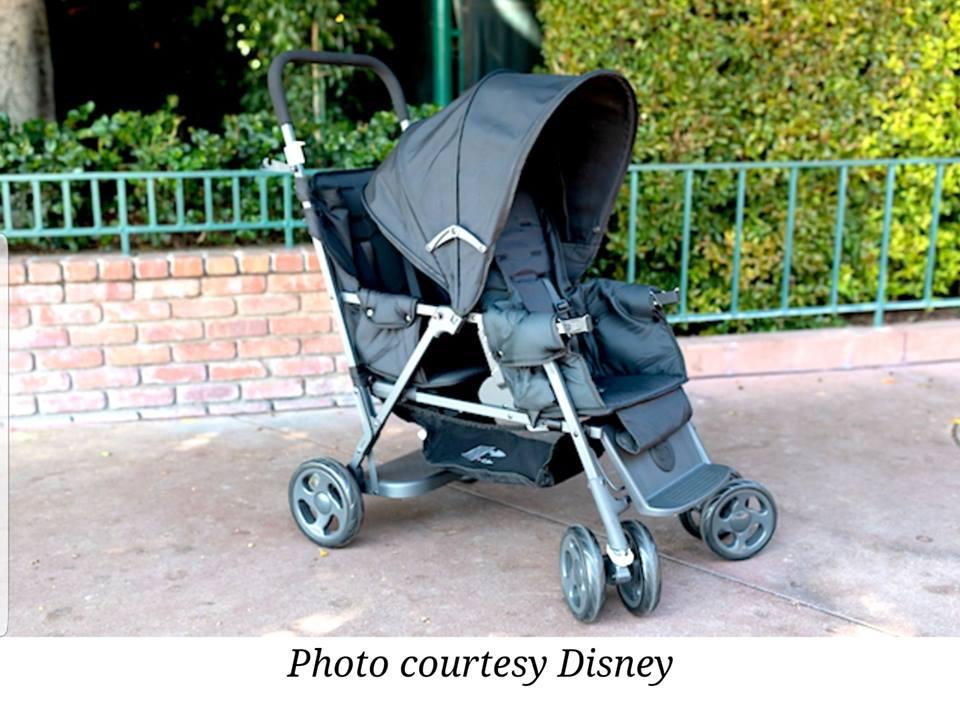 Tandem stroller for rent at Disneyland