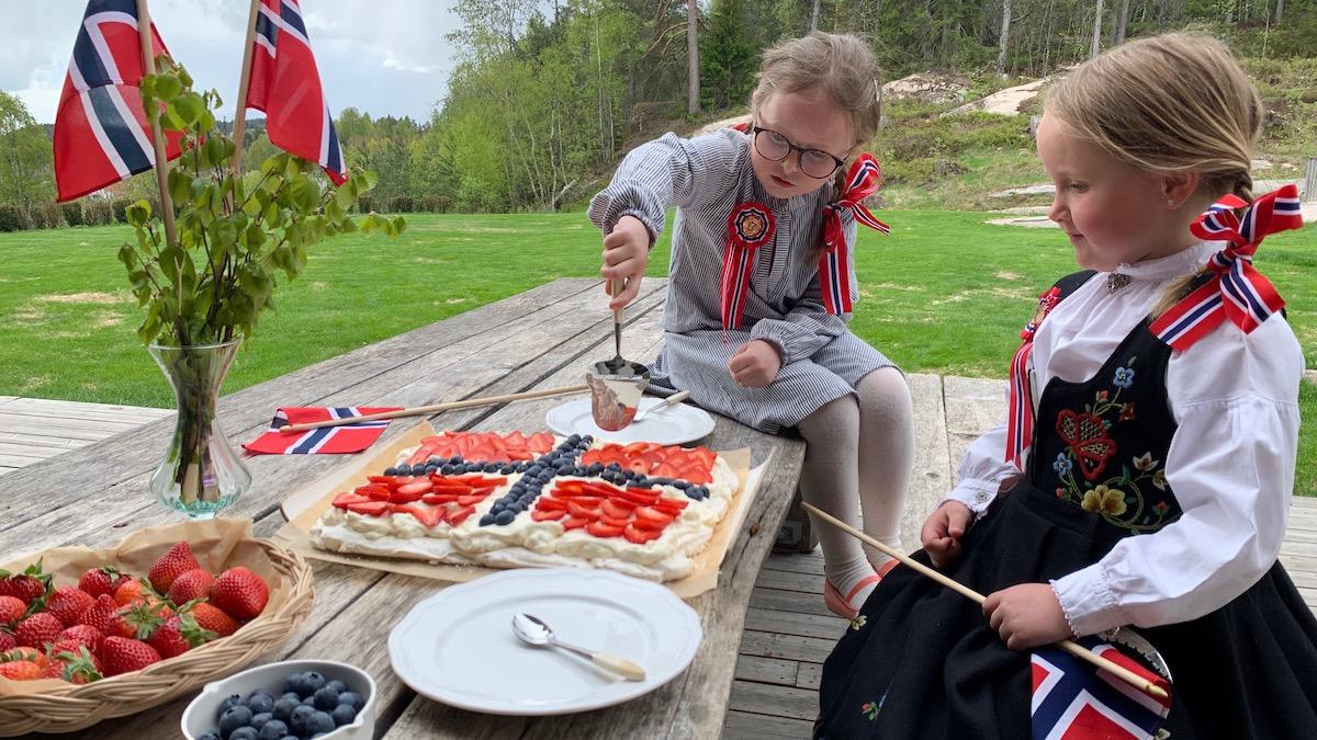 Pavlova er veldig mange barns favorittkake. Ikke så rart kanskje. Kombinasjonen av sprø og seig marengs, krem og bær faller i smak hos de fleste!