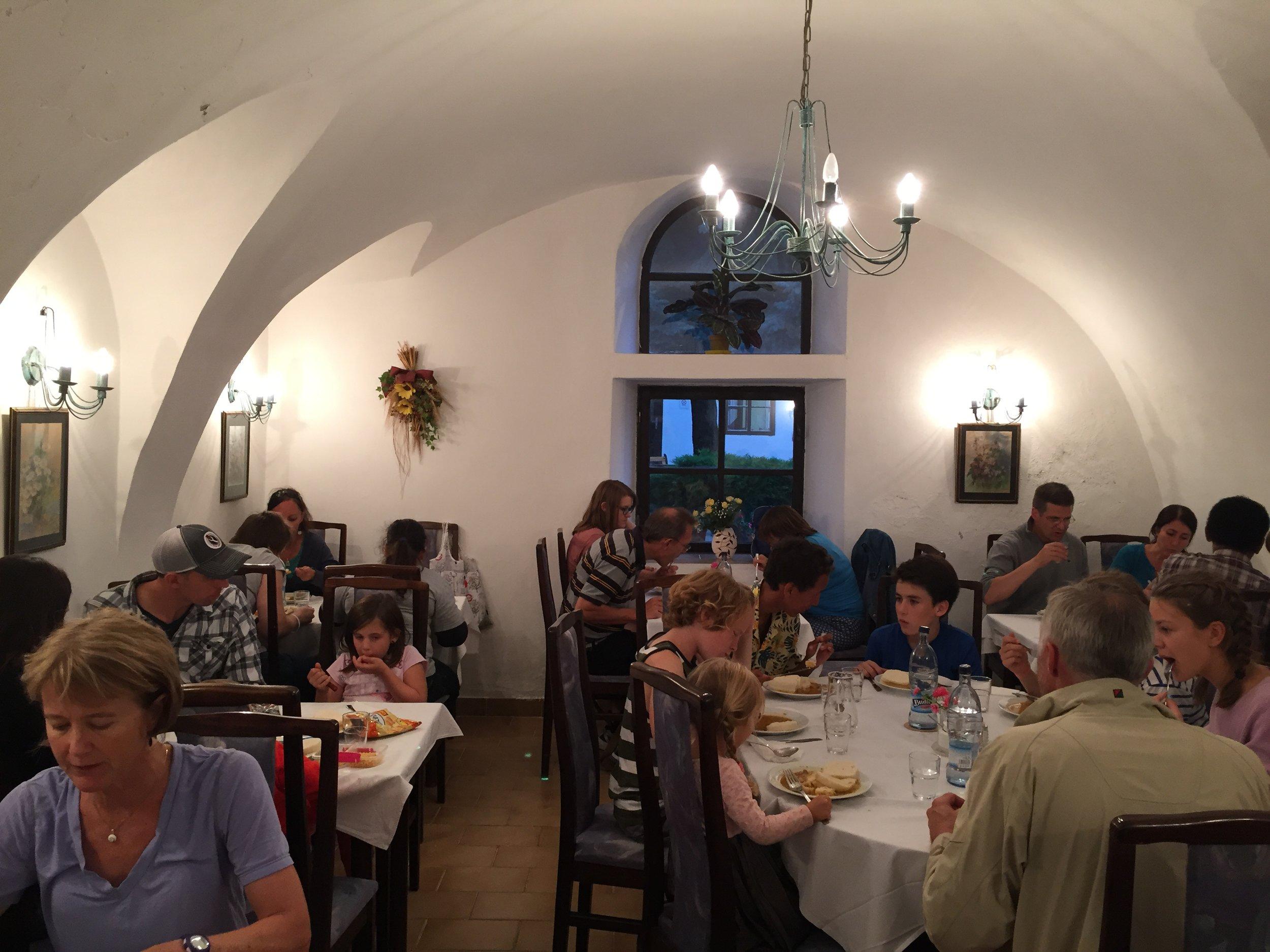 Dining at the Agape Centre, Svaty Jur