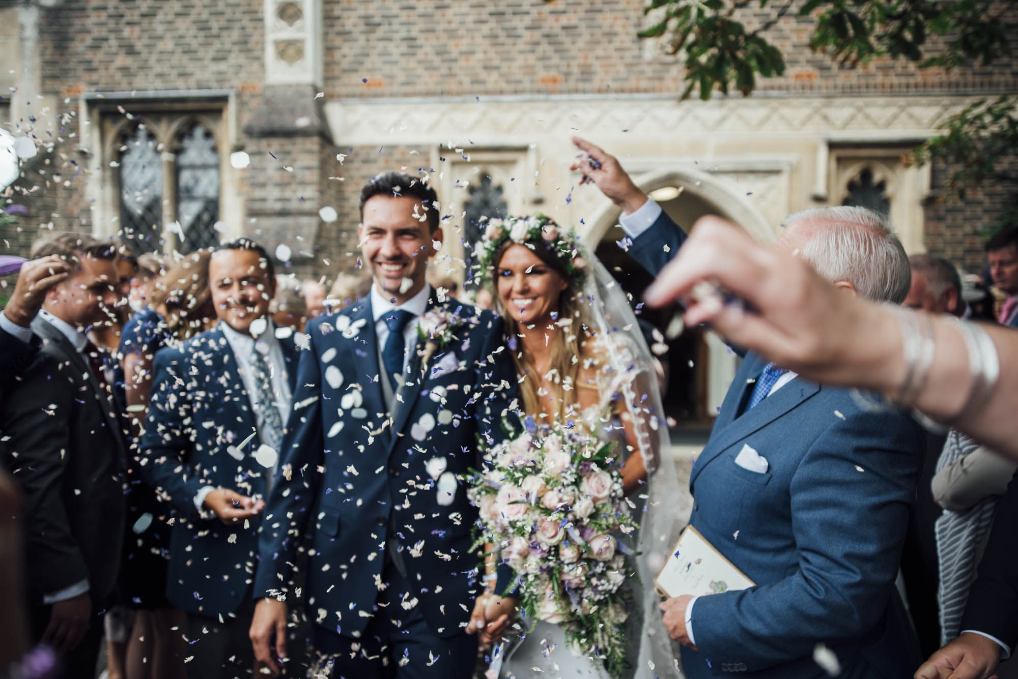 Essex Wedding Bride & Groom with confetti