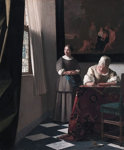 """Forget it. Where's my laptop?"" ""Woman Writing a Letter, With Her Maid, by Johannes Vermeer, via Wikimedia Commons."