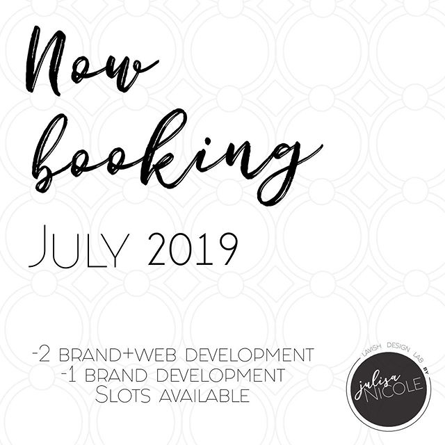 CURRENTLY BOOKING July 2019 . . 2 brand + Web project slots and 1 Brand development project slot is available! Email link in bio to inquire and for details. . . Now is the time to take that leap of faith towards starting the new business you've been thinking about or revamping your current one!