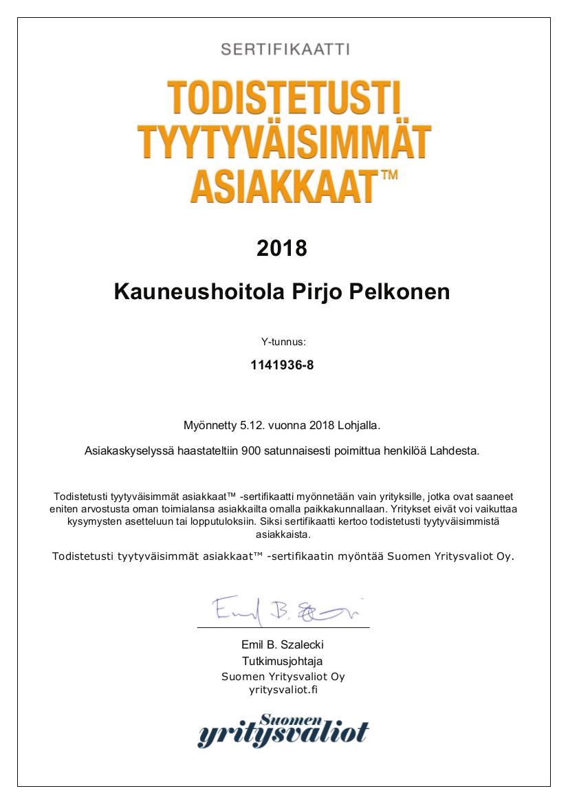 Kauneushoitola Pirjo Pelkonen A4-sertifikaatti 2018.jpg