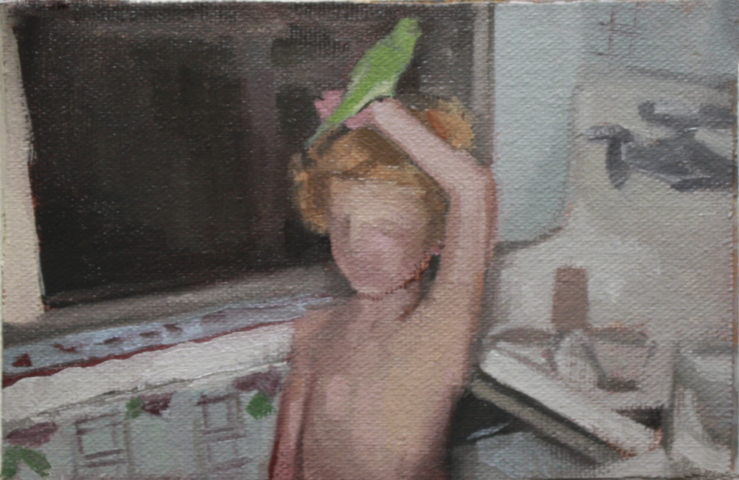 "bird  oil on canvas 4x6"" 2012  private collection NJ"