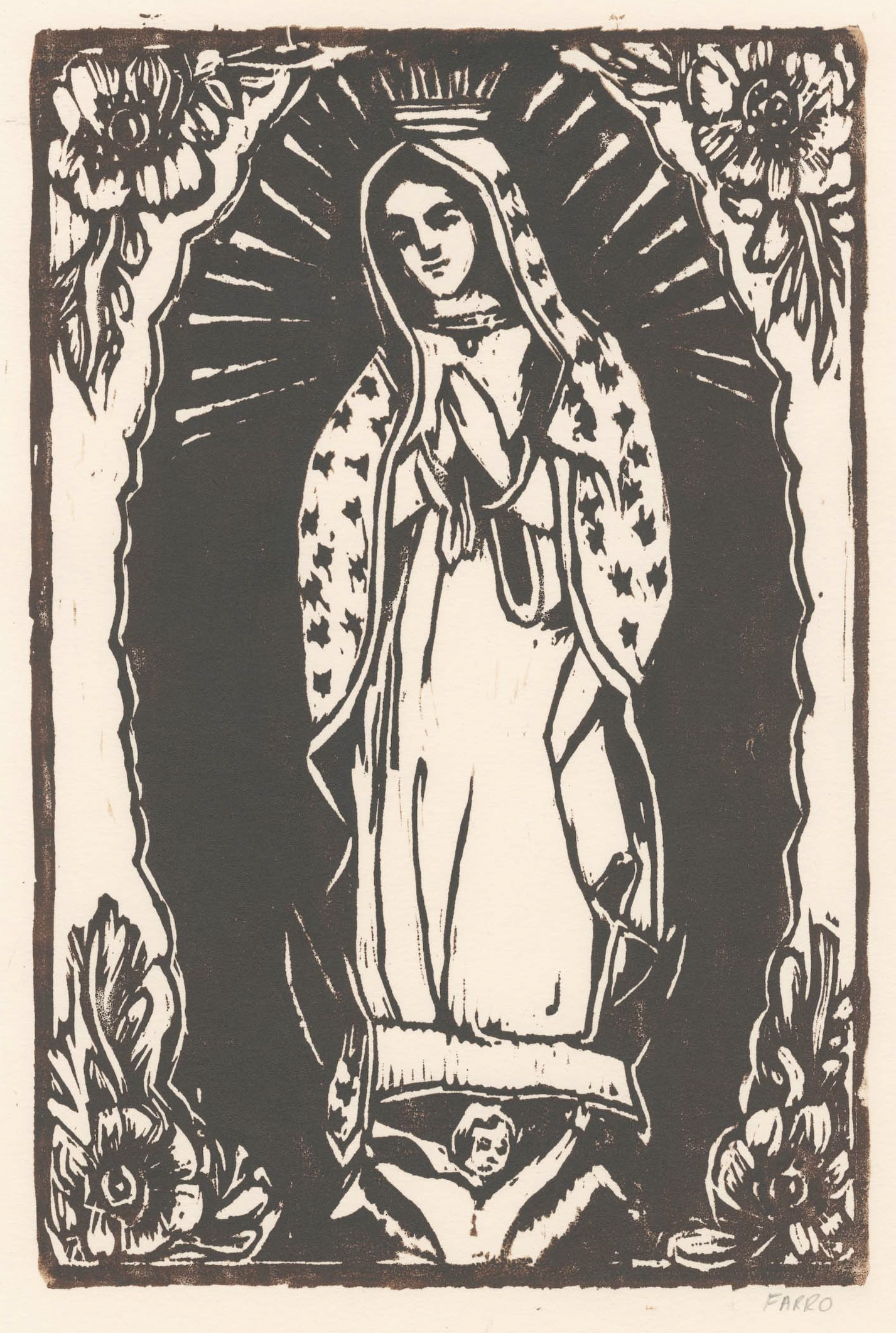 """Our Lady of Guadalupe   woodblock print  edition of 45  8x12""""  2012"""