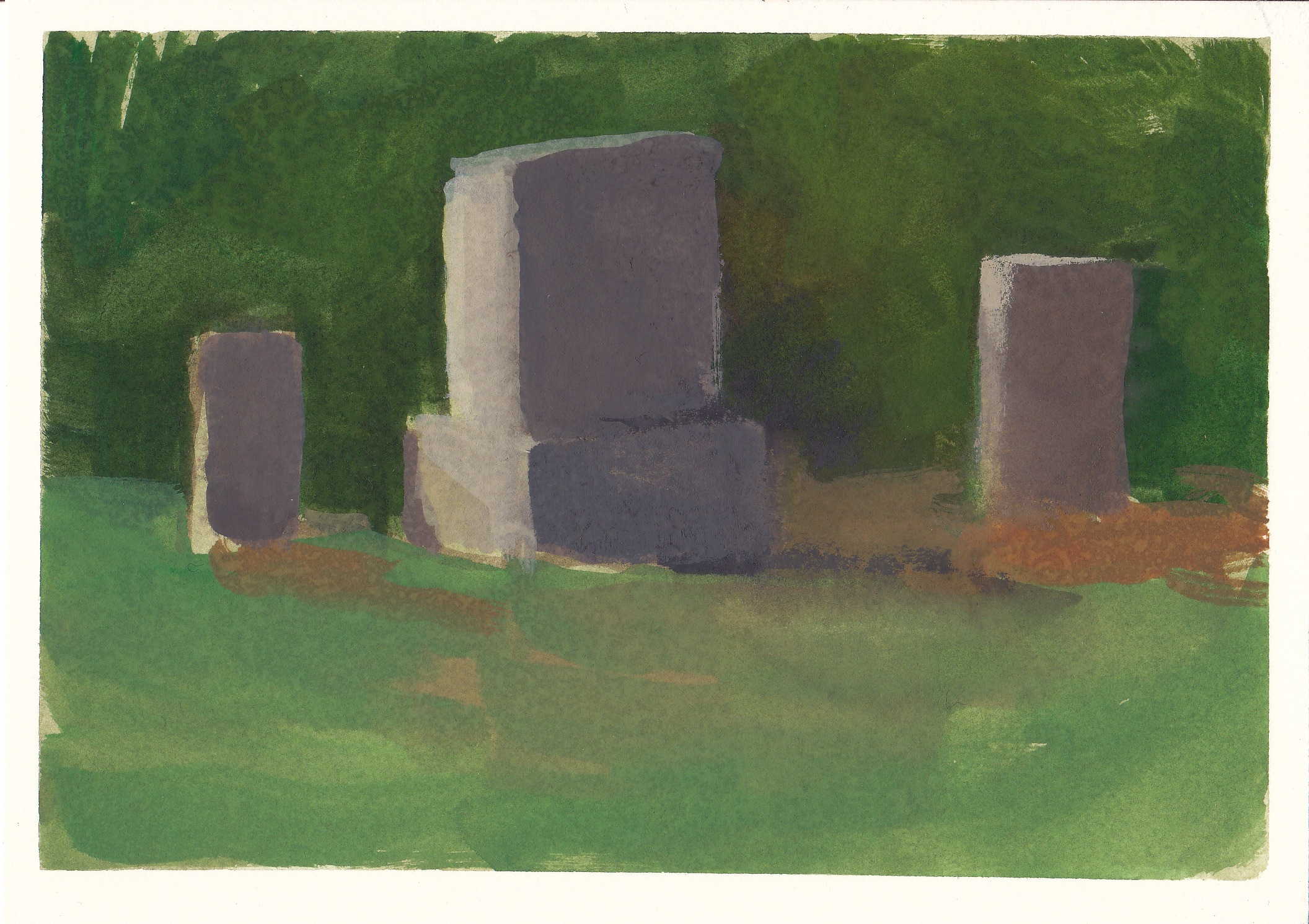 """cemetery   watercolor and gouache  4.5x6.5""""  2012"""
