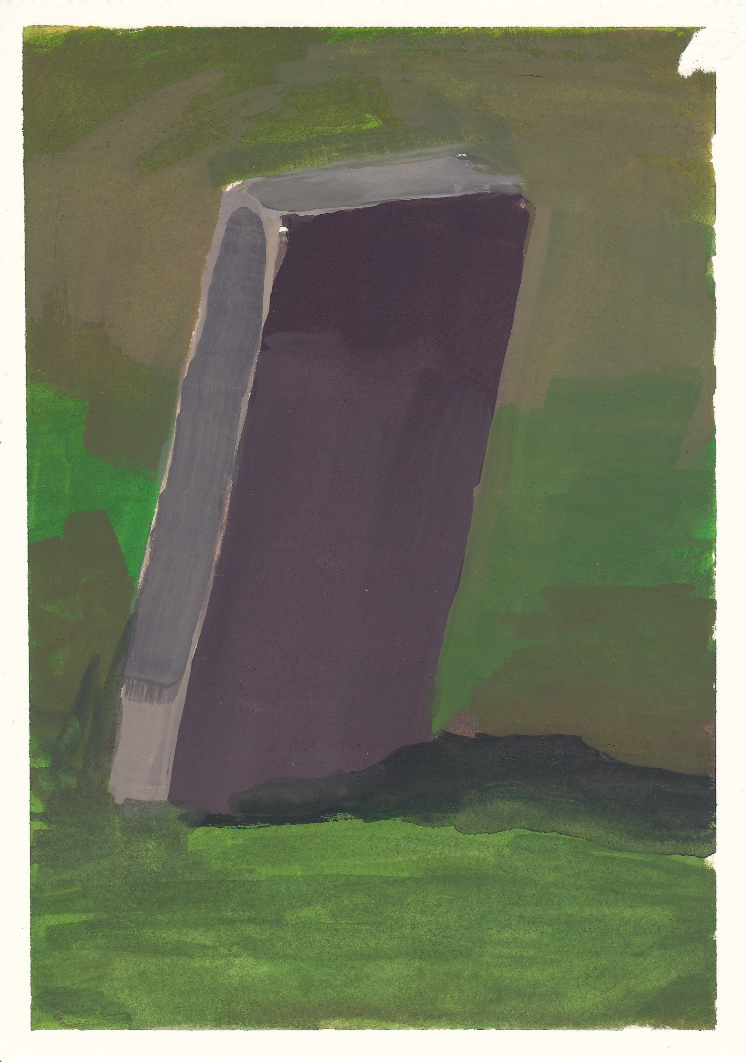 "a grave   watercolor and gouache  4.5x6.5""  2012"