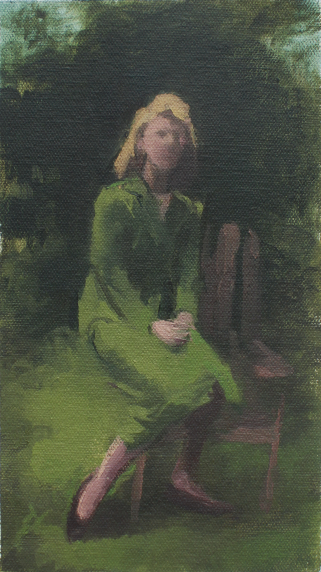 "portrait of Sylvia Plath  oil on mounted canvas 4.5x8"" 2013  private collection Costa Mesa, CA  purchase prints"