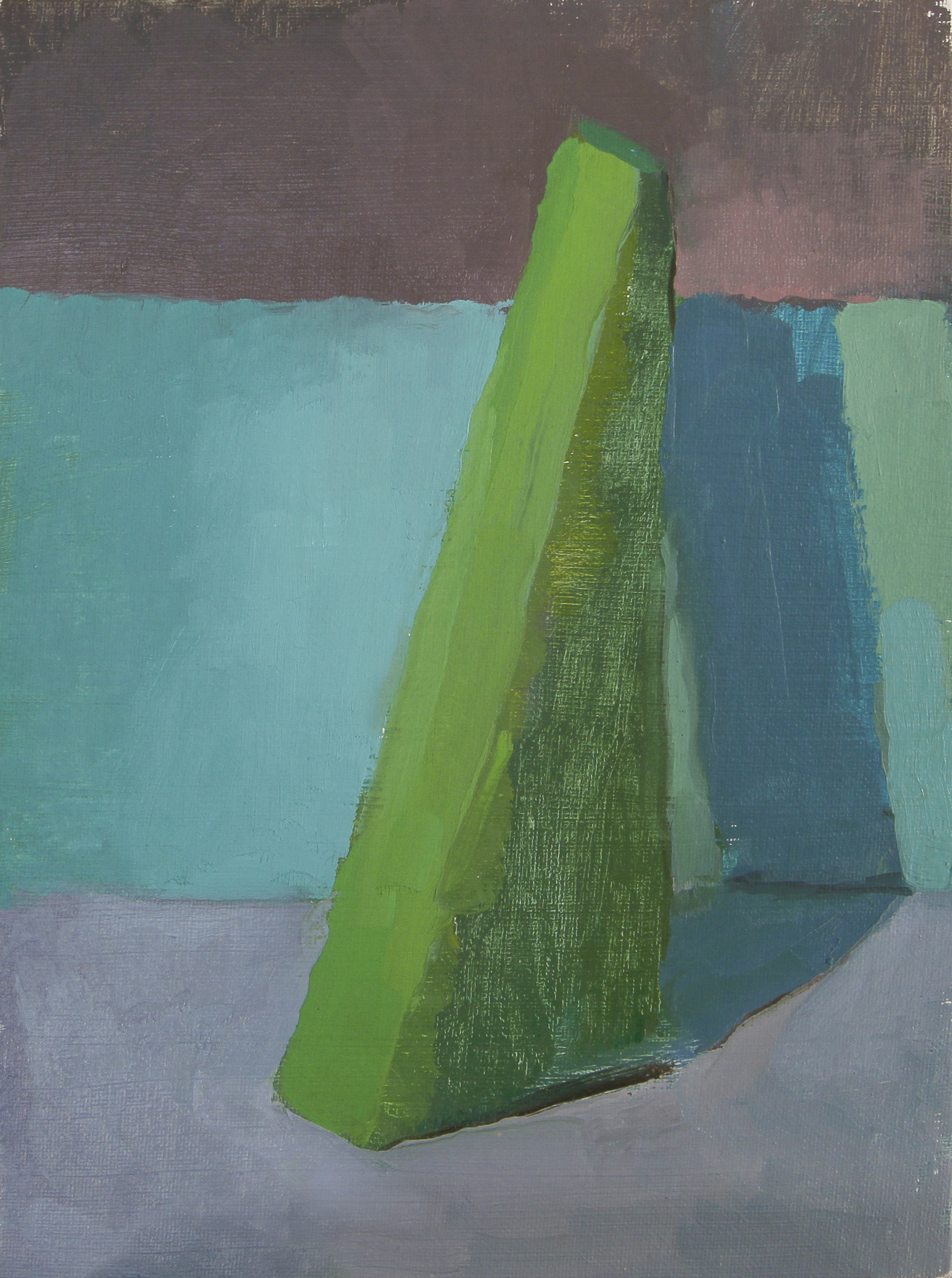 """green triangle   oil on canvas  9x12""""  2013"""