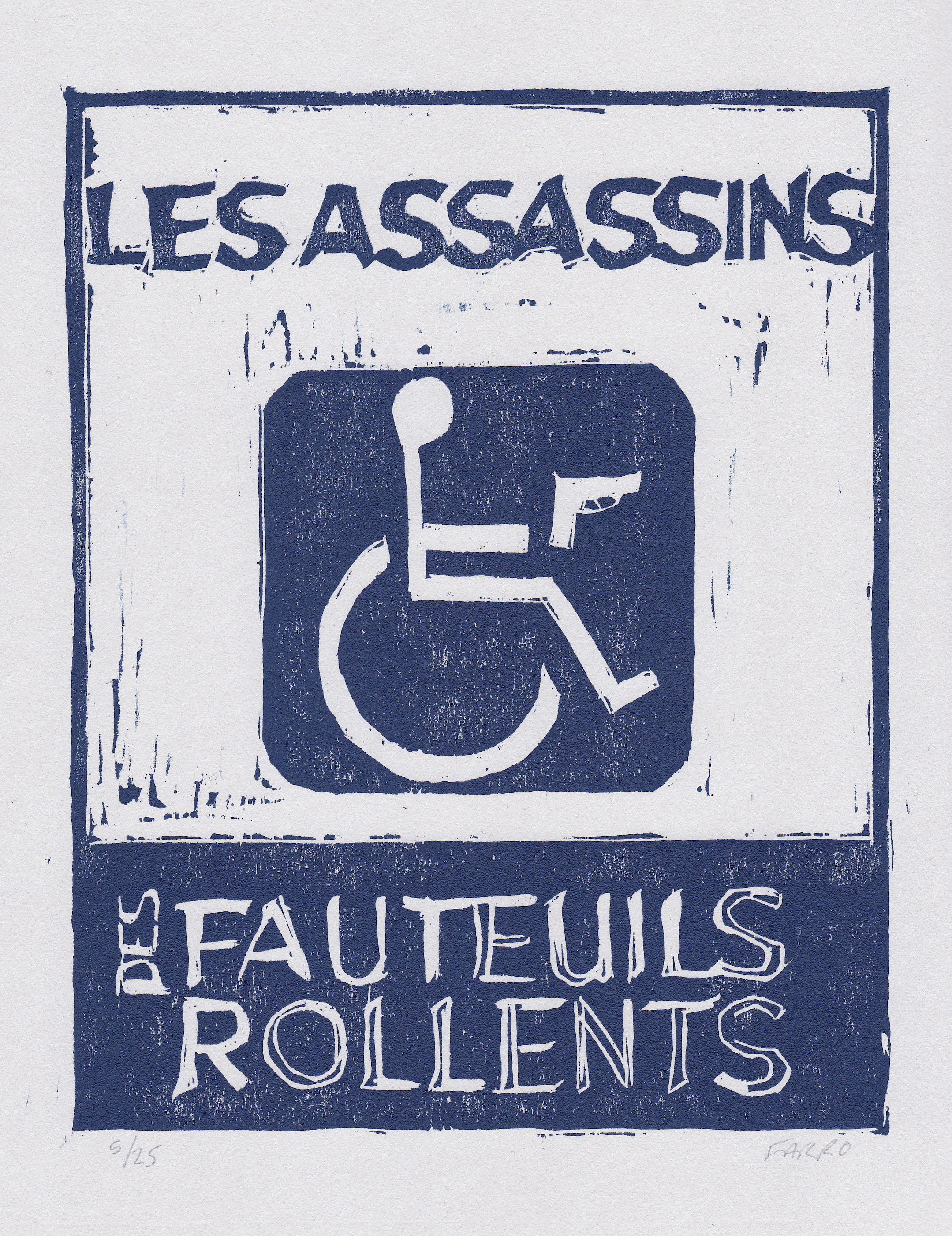 "Les Assassins des Fauteuils Rollents  woodblock print edition of 25 6.25x8"" 2013   purchase"