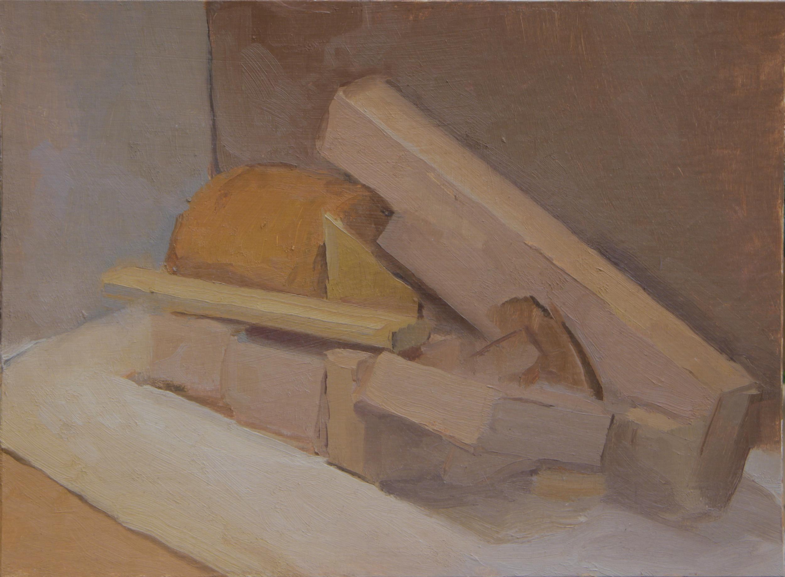 """blocks II   oil on mounted cardboard  9x12""""  2014"""