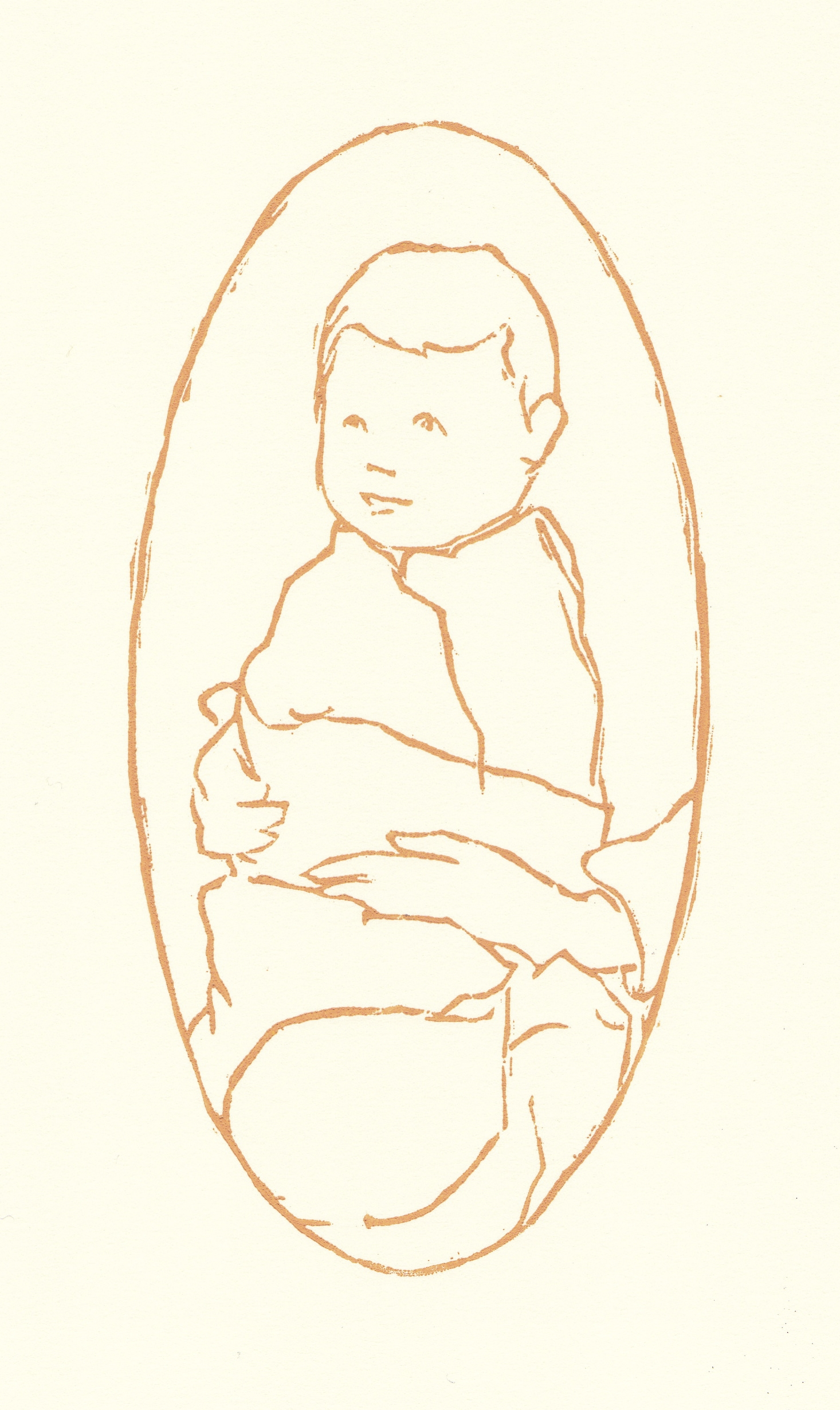 "baby   woodblock print  edition of 35  3.5x6.75""  2014"