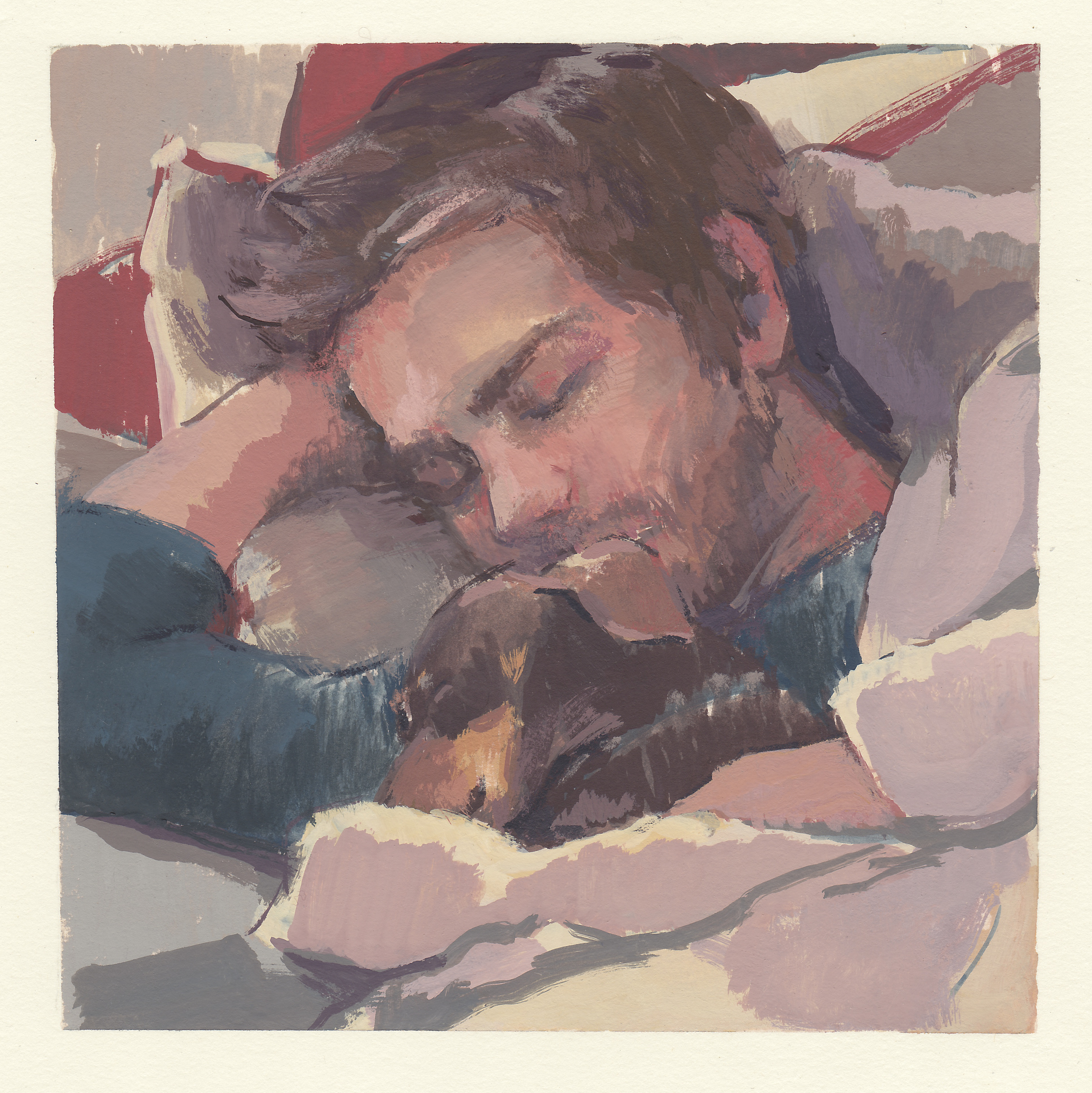 "Robert & Bailey  watercolor and gouache on paper 5.75x5.75"" 2014  private collection Nashville, TN"