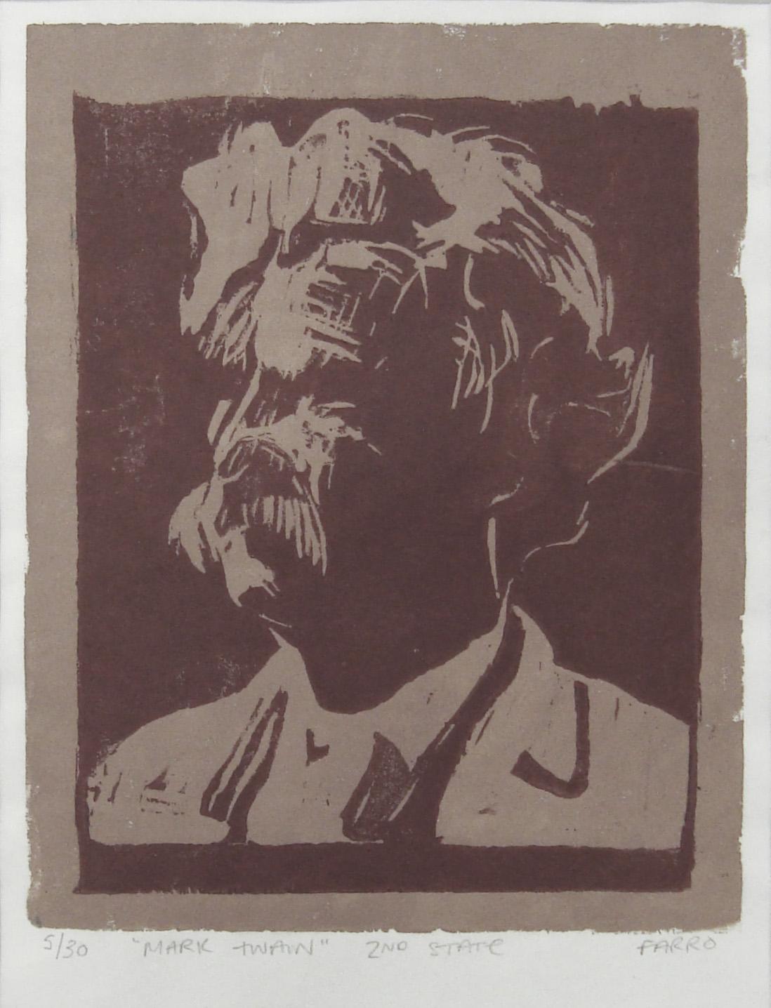 "Mark Twain   woodblock print  2nd state  edition of 30  6x7"""