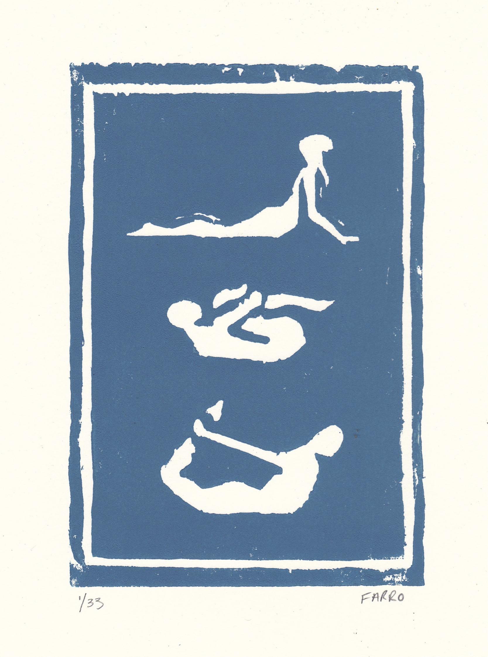 "yoga poses   woodblock print  edition of 33  5x7""  2011"