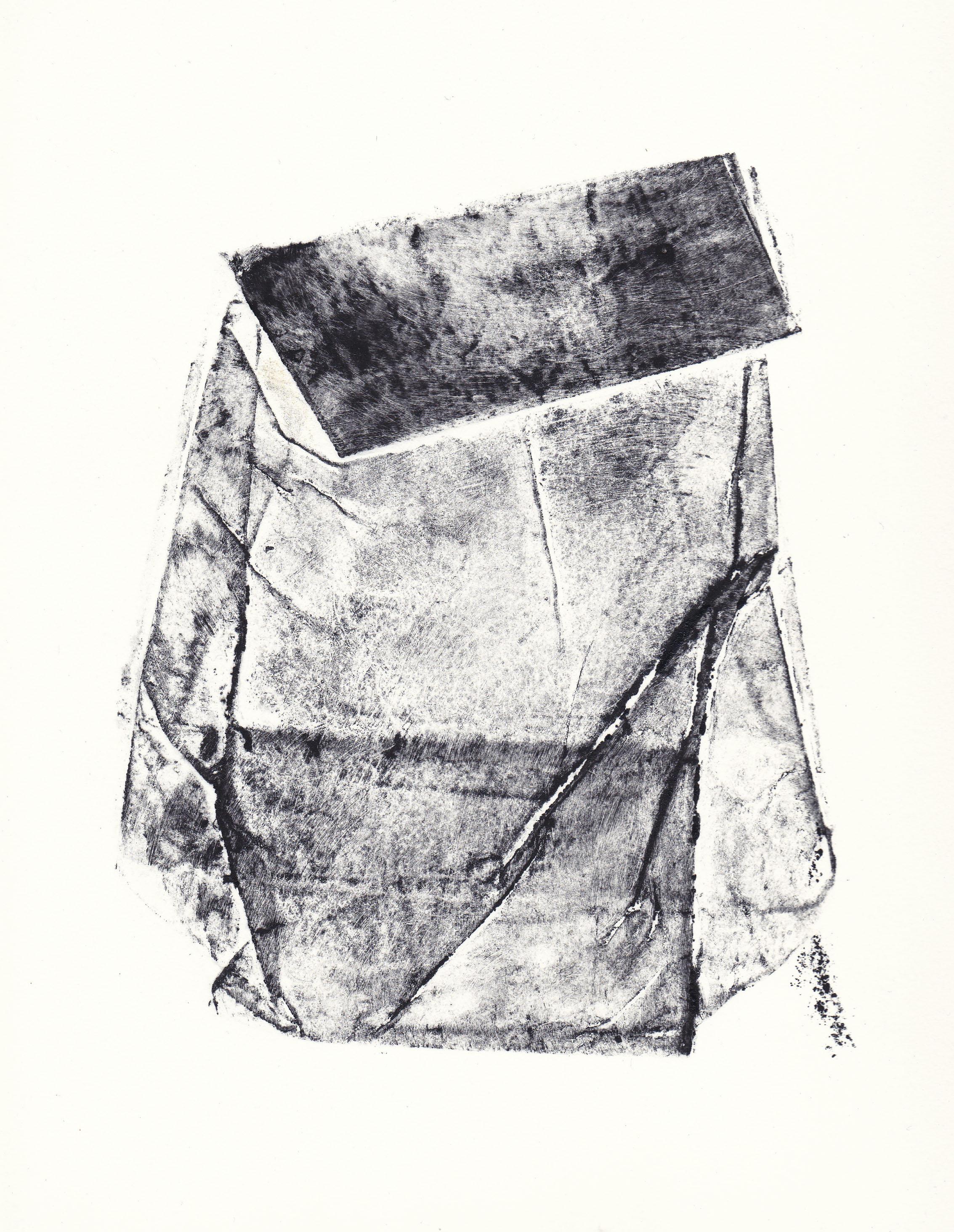 Topography of a Flour Bag III   collagraph print  2012