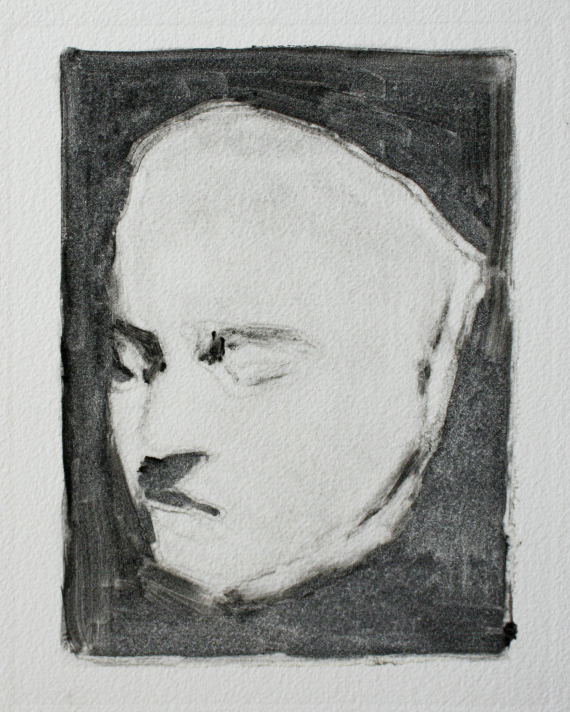 """Beethoven's Death Mask   ink on paper  7.5x9.75""""  2011"""