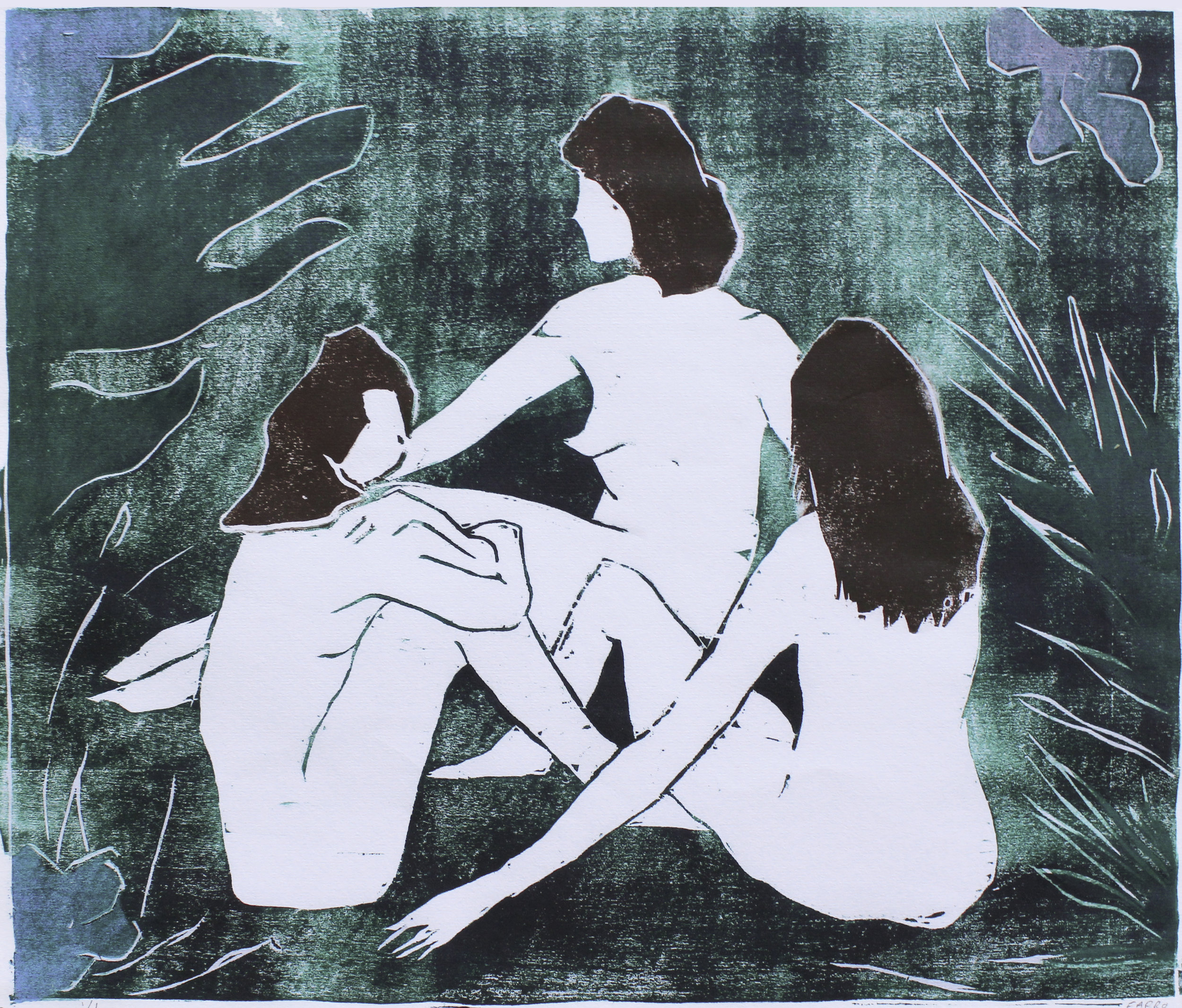 "jungle ladies   woodblock print  unique edition  11.75x10""  2017"