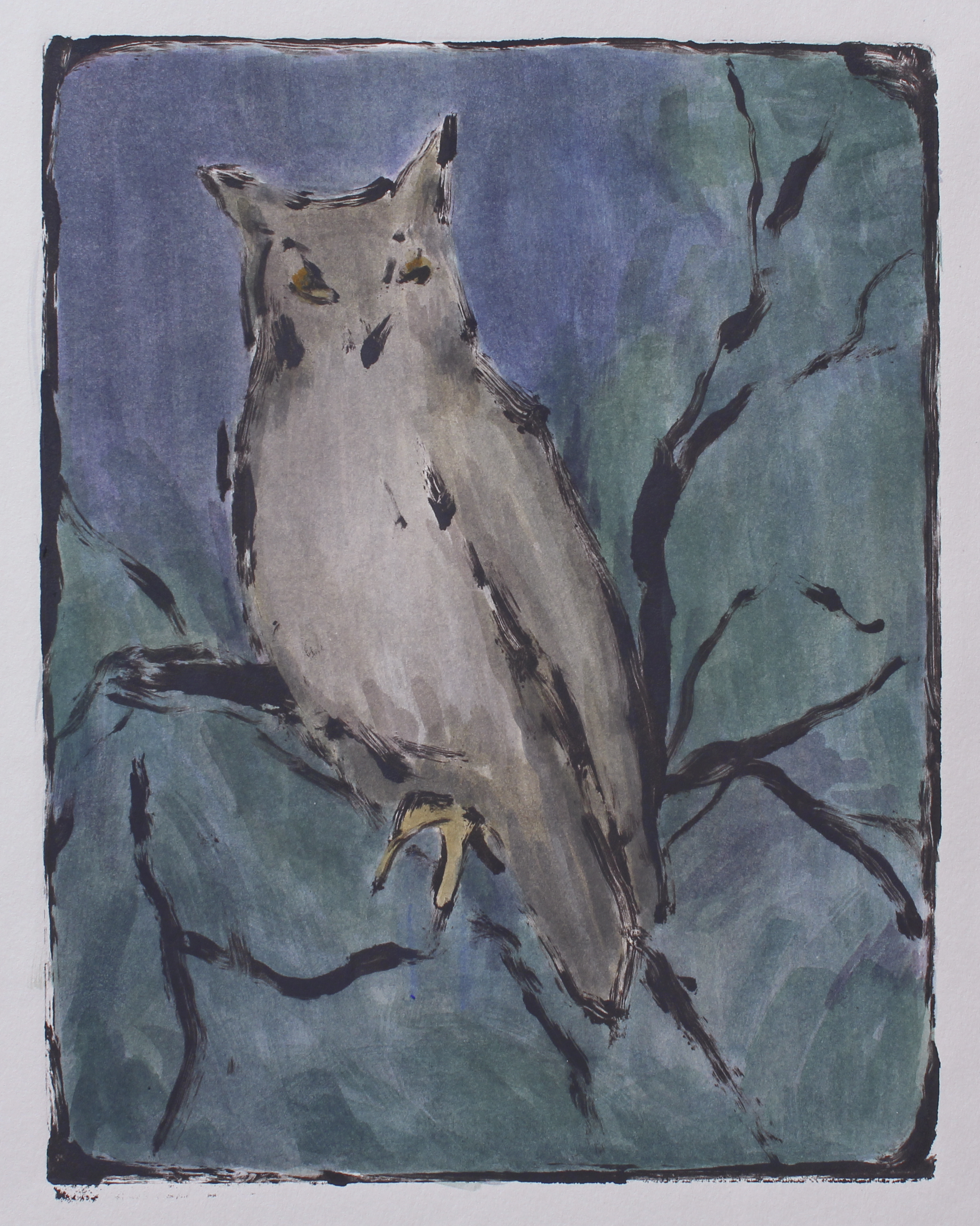 "night owl   monotype  unique edition  7.5x9.75""  2017"