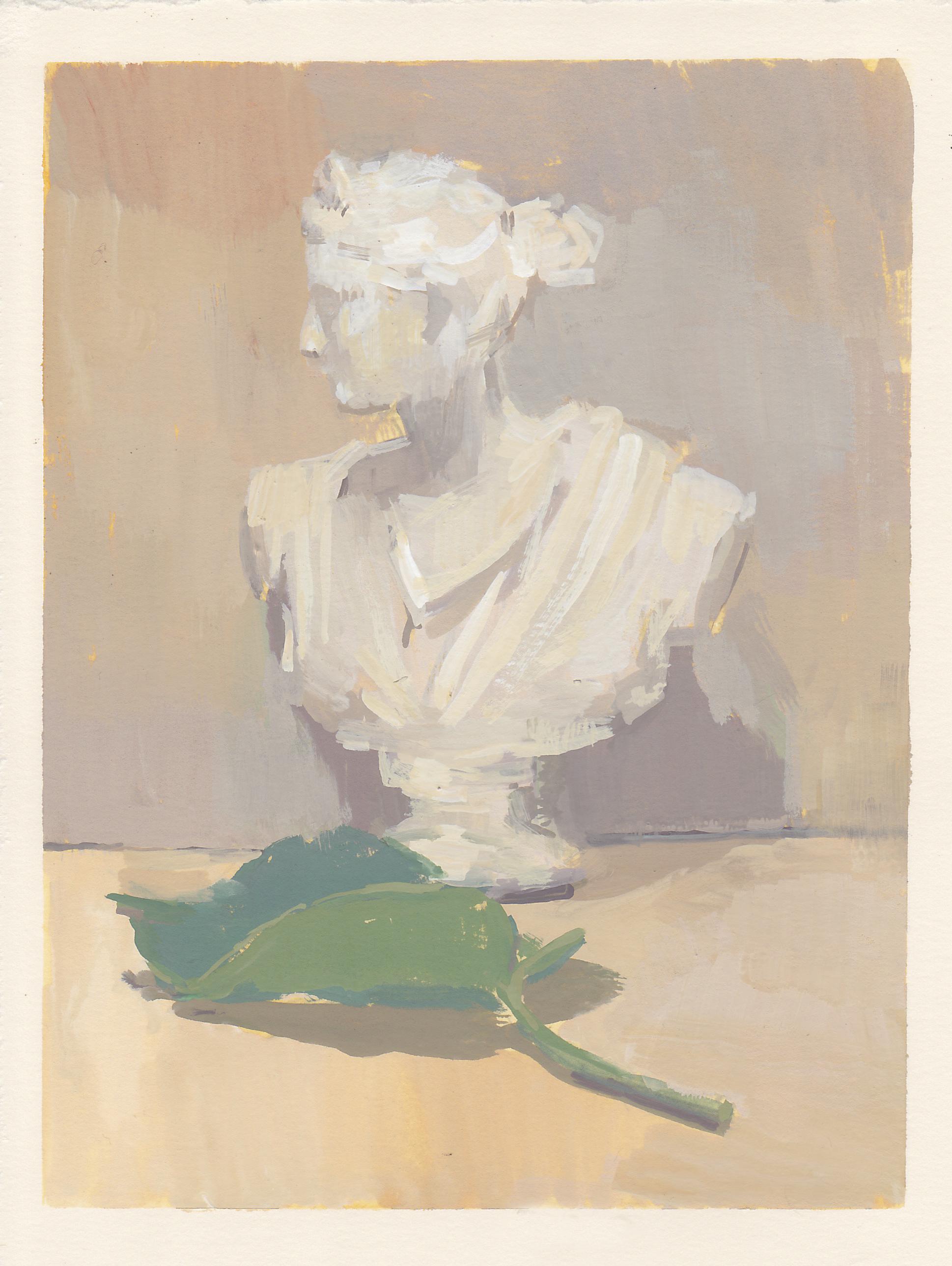 "Leaf of Athena   gouache on paper  6x7.75""  2017"