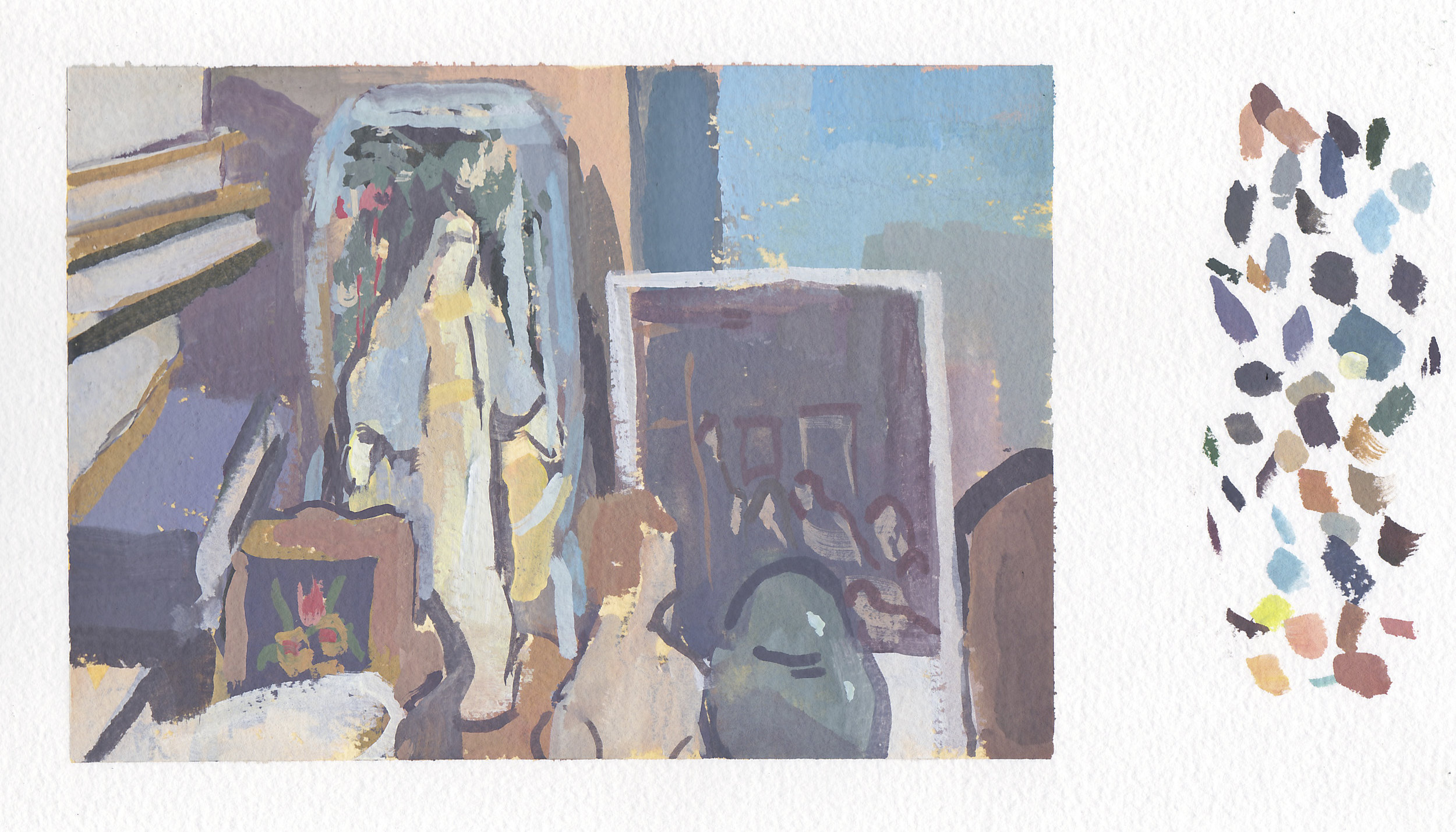 """still life with mother mary &urn   gouache on paper  5x7""""  2017"""
