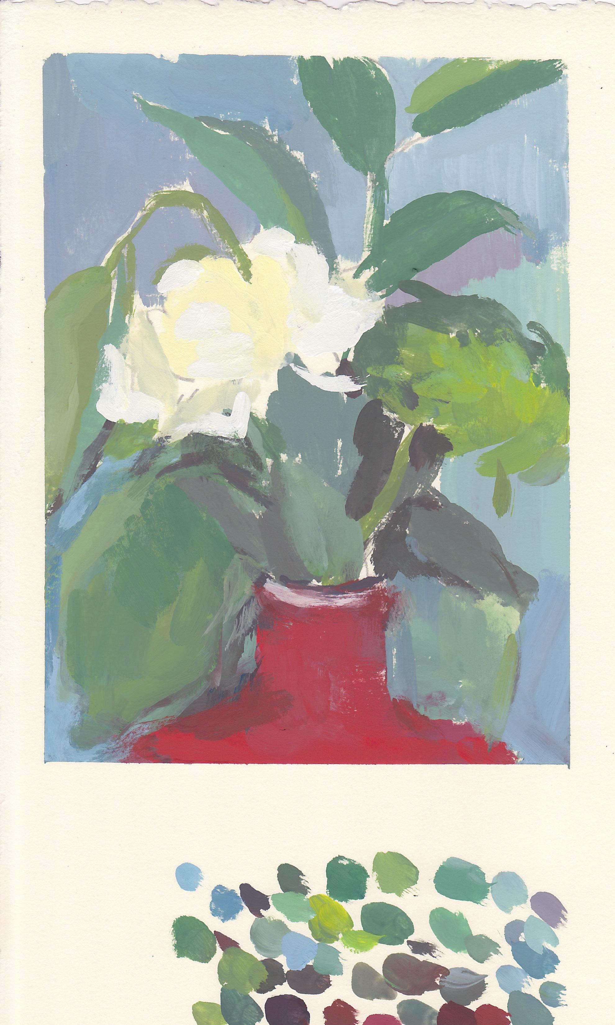 """white flower, red vase   gouache on paper  7.5x5.75""""  2017"""