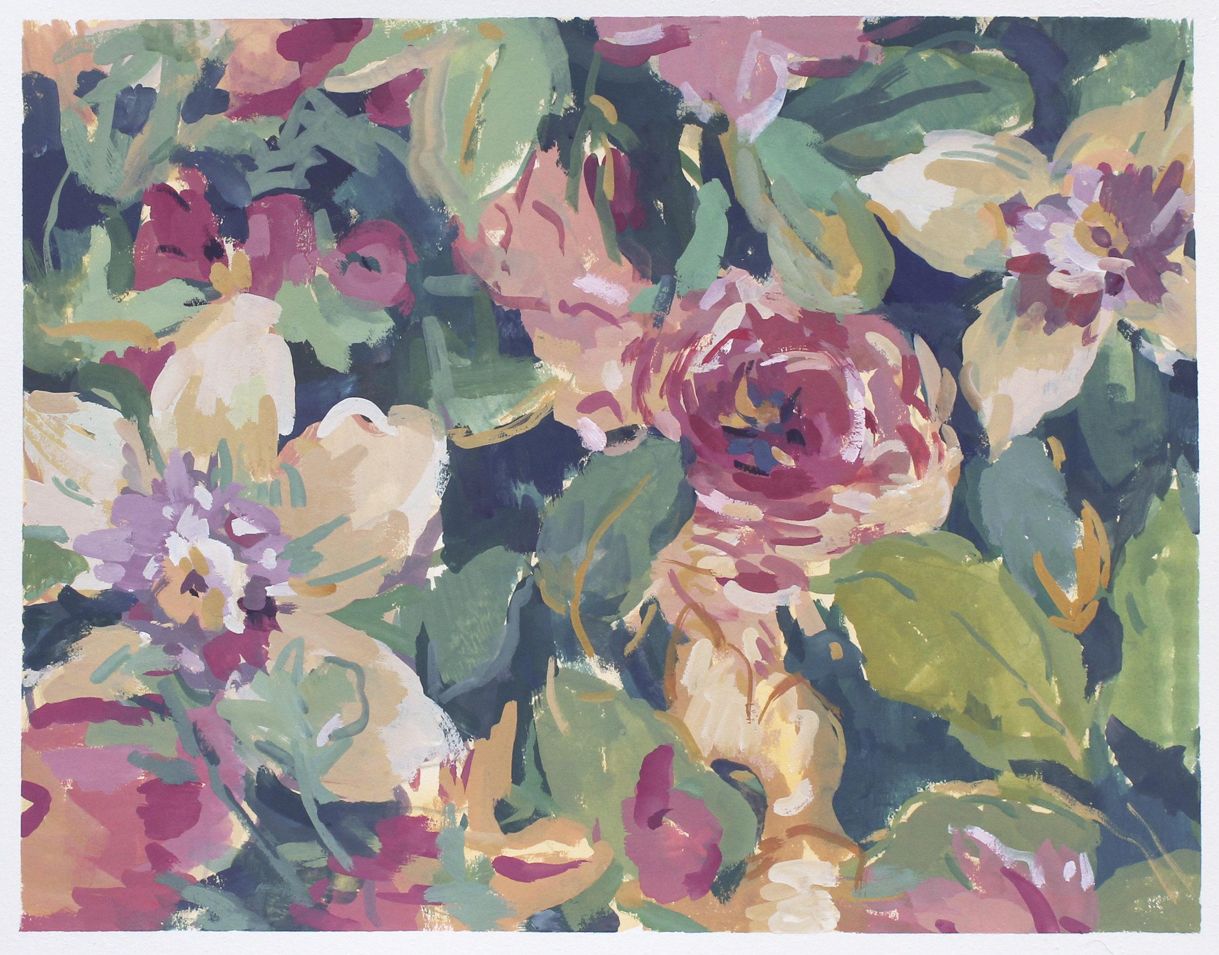 "scrap flower fabric  gouache on paper 10.5x13.25"" 2017   purchase prints"