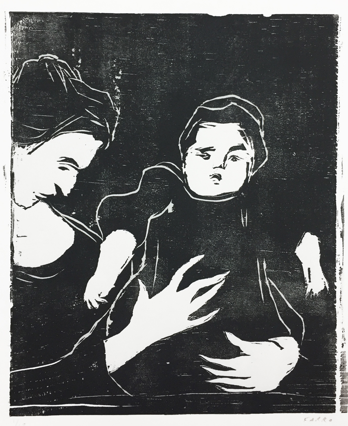 """mother and child  (after Van Gogh)  woodblock print  edition of 12  7.5x9.25""""  2017"""
