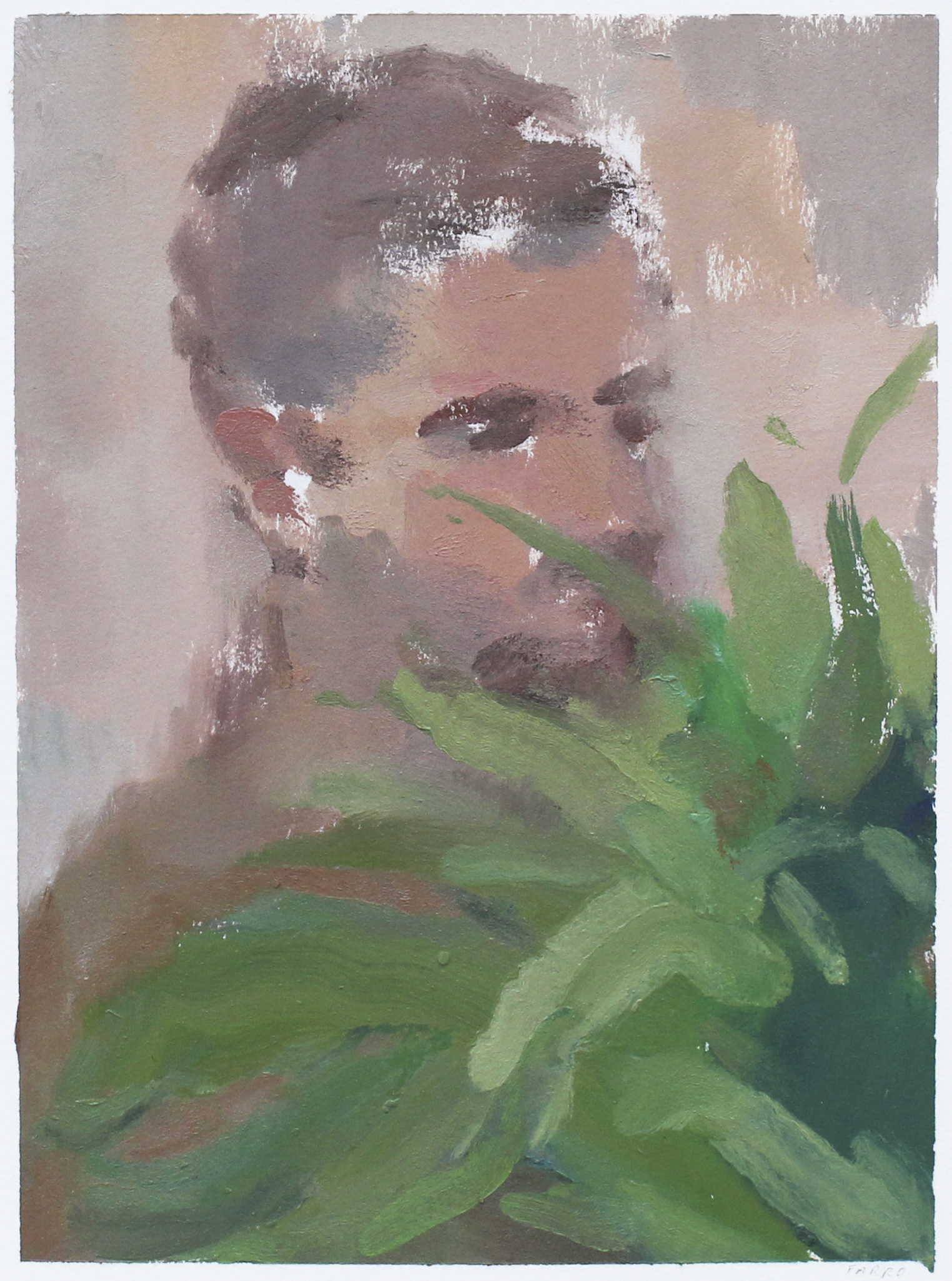 "a boy with his ferns  oil on paper 9x12"" 2017  available"