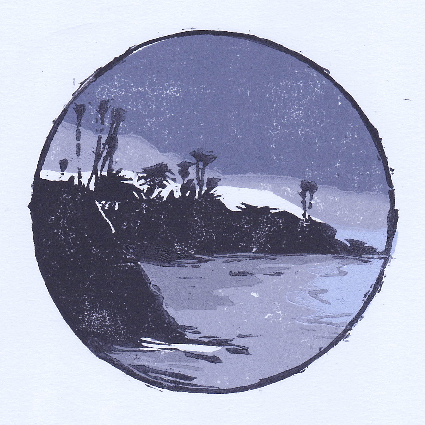 """divers cove, night   woodblock print  edition of 12  4x4""""  2018"""