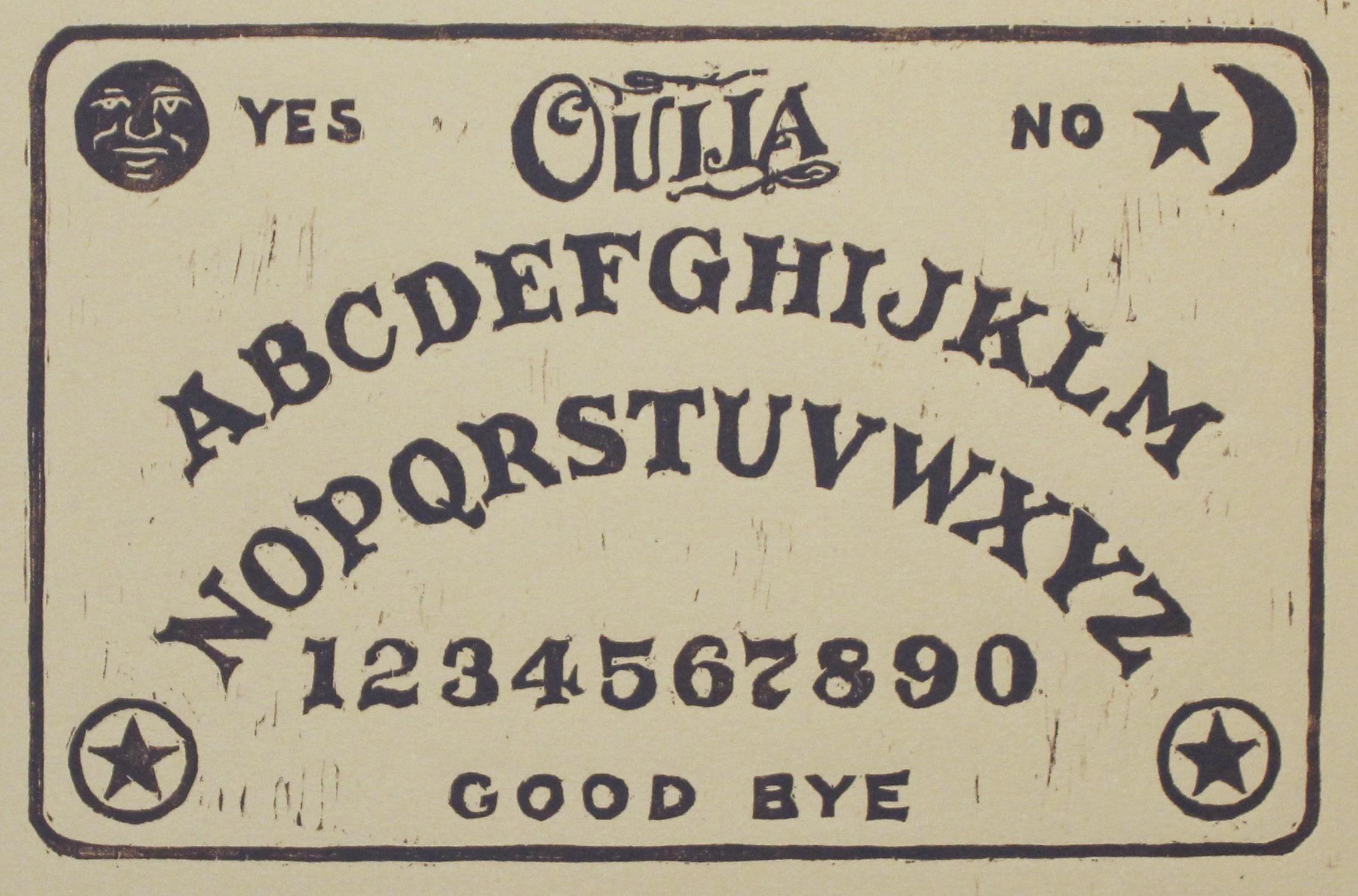 "Ouija Board   woodblock print  edition of 50  5.75x8.75""  2016"