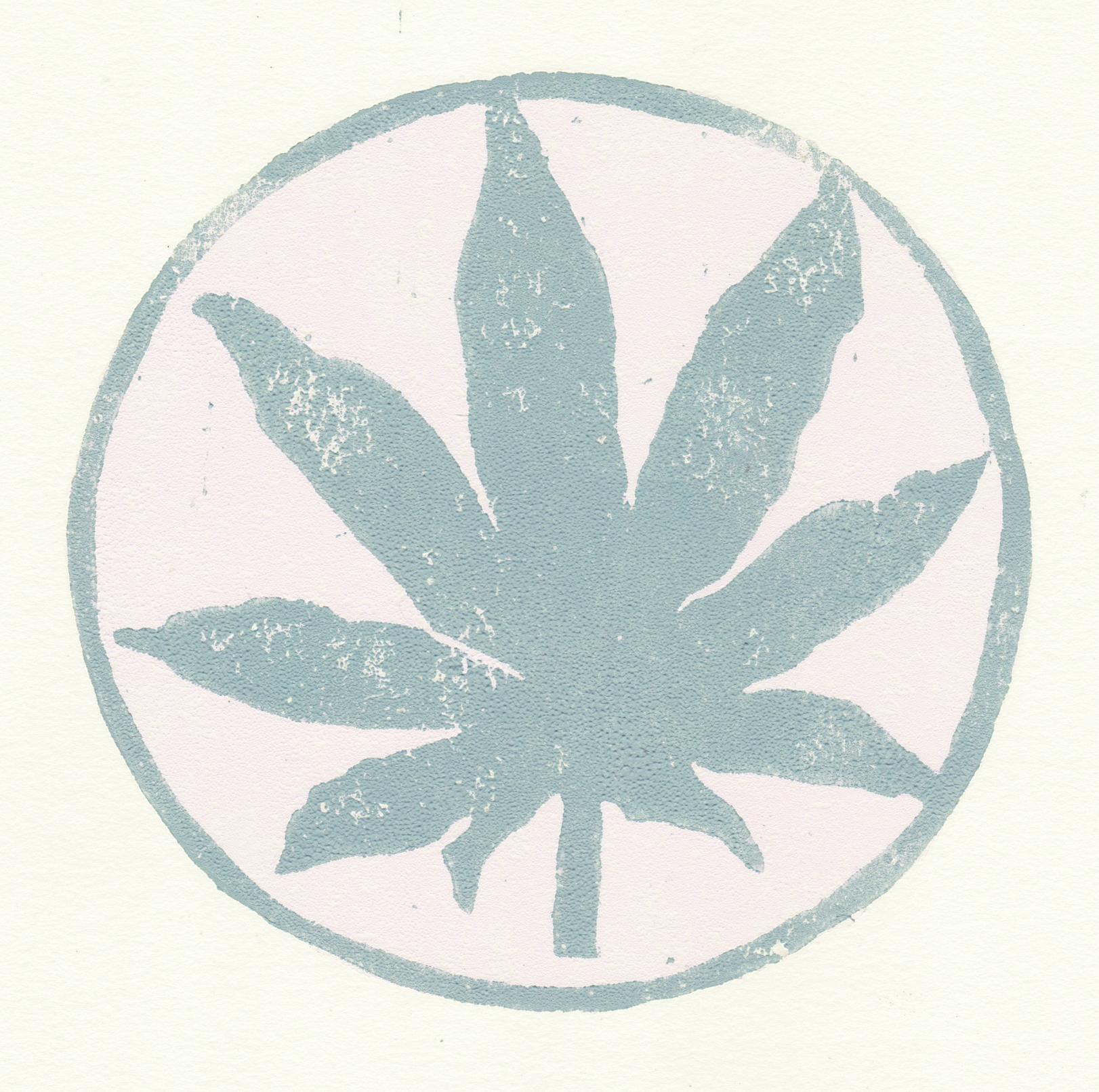 "hemp leaf   woodblock print  edition of 24  4.75x4.75""  2018   purchase"