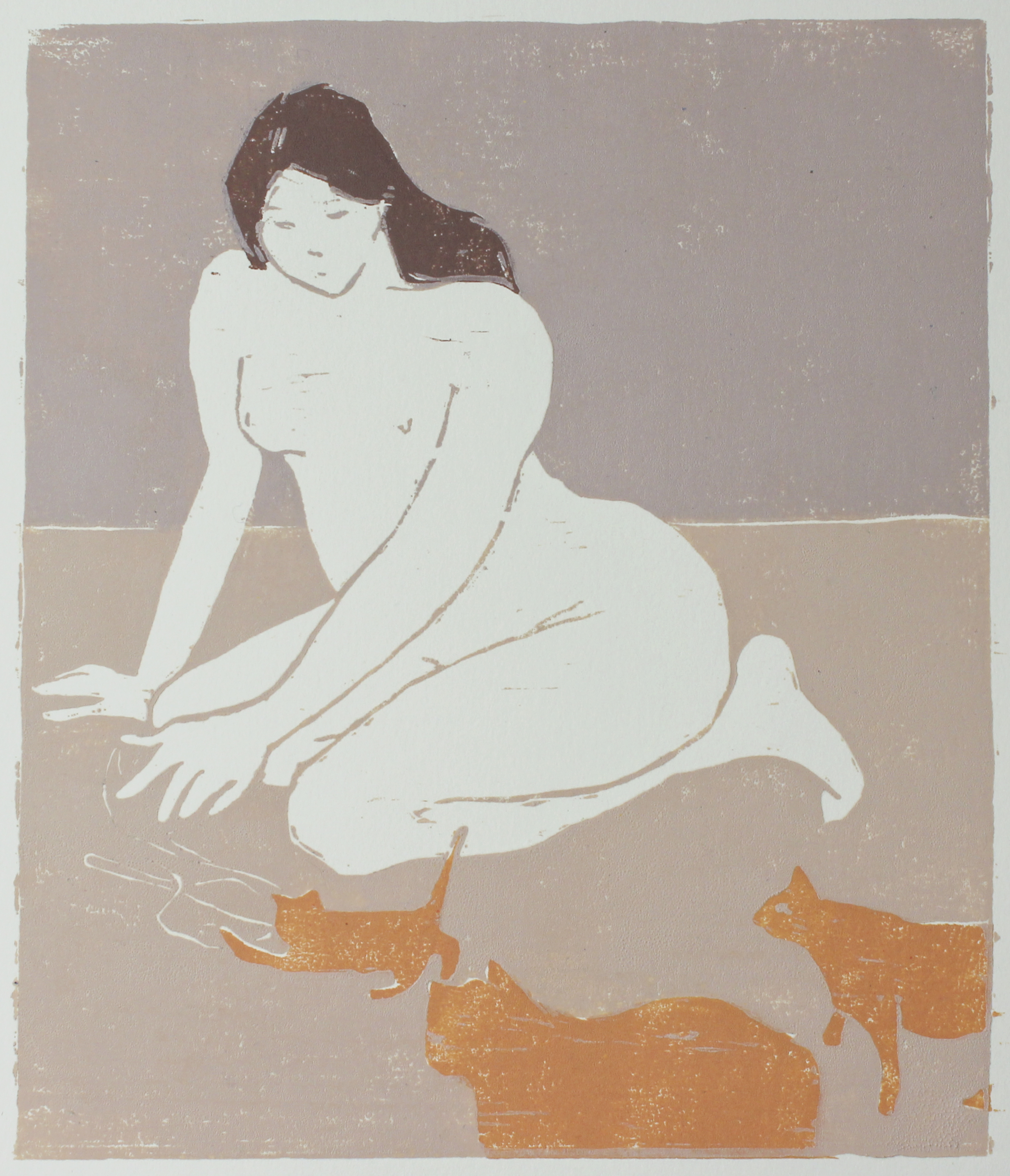 """cat lady  woodblock print edition of 1 8.5x10"""" 2018  private collection Nashville, TN"""