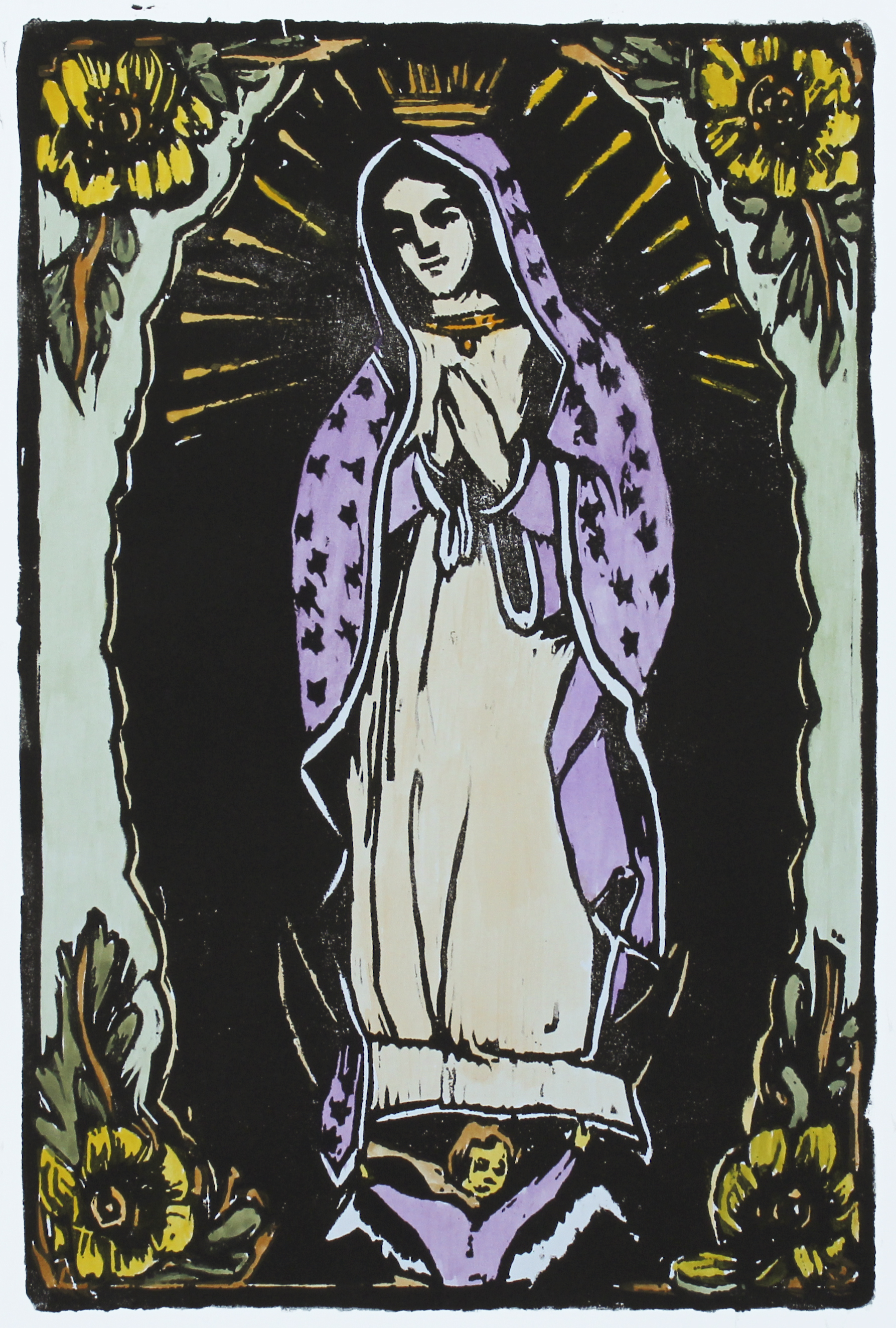 """Our Lady of Guadalupe   woodblock print with hand-coloring  edition of 1  12x8""""  2017"""