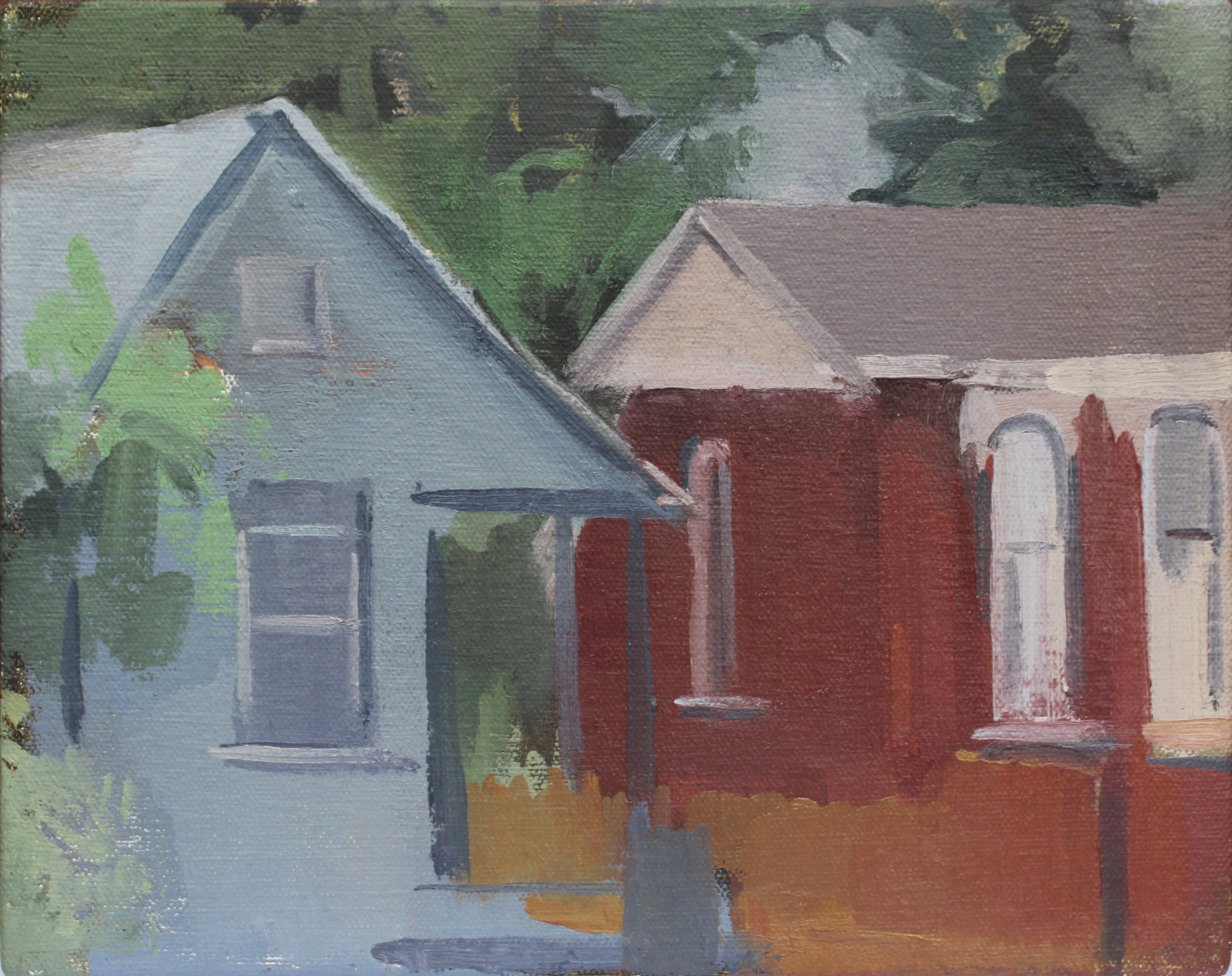 "germantown houses   8x10"" oil on canvas  private collection Los Angeles, CA"