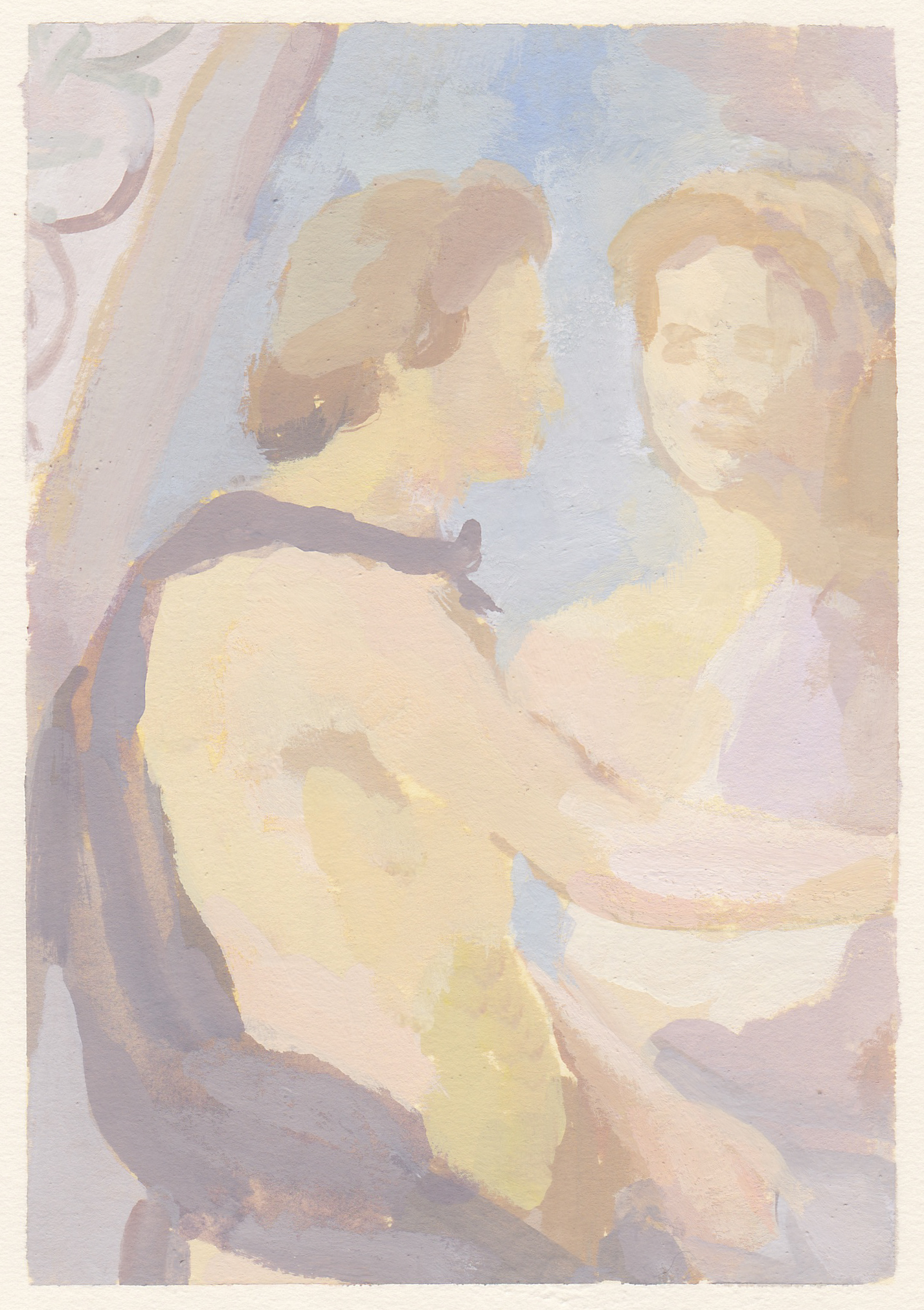 """lovers fresco  gouache on paper 6.5 x 4.5"""" 2018  private collection in Irvine, CA  purchase prints"""
