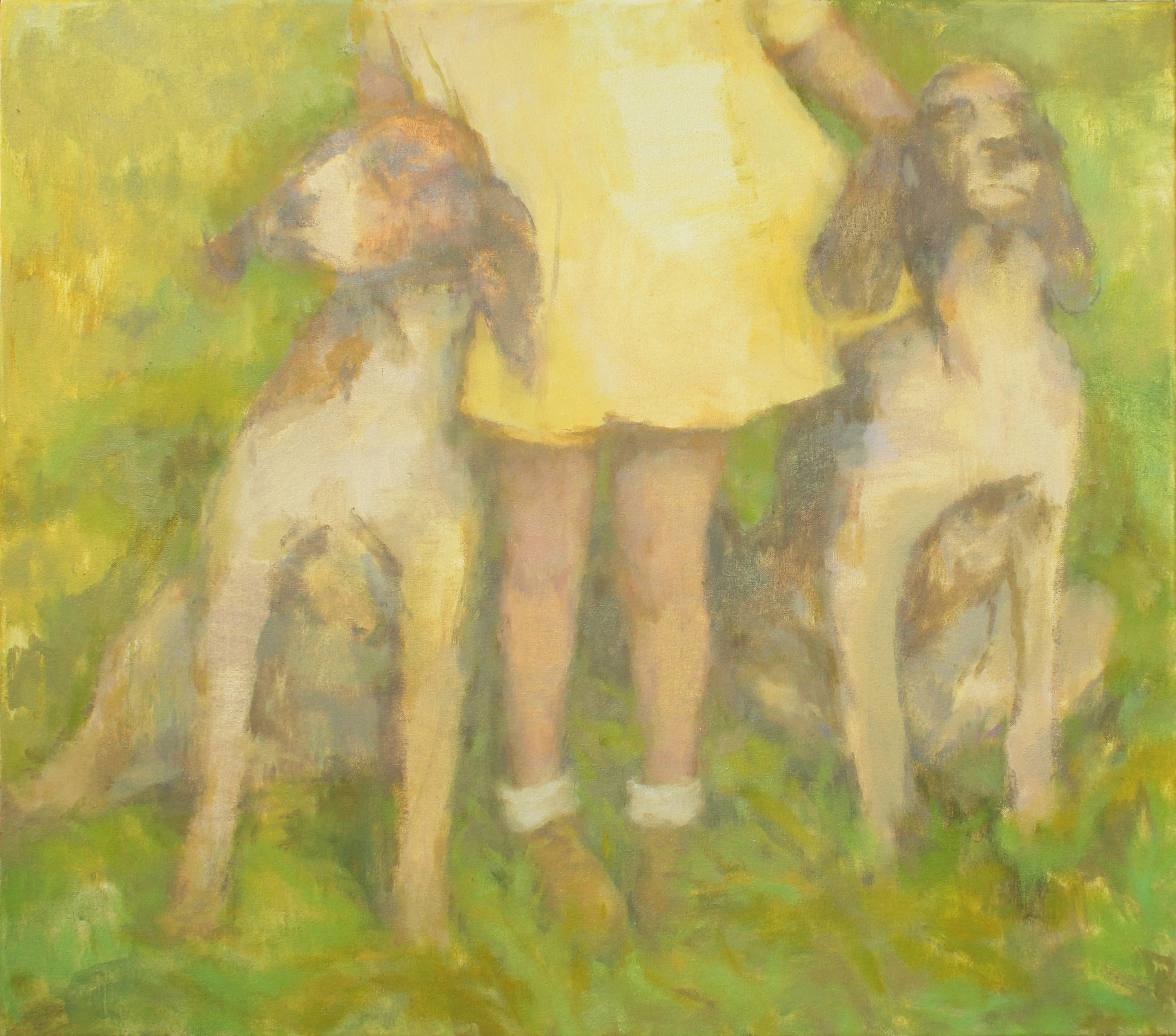 "Yellow Dress, Tally-Ho  oil on canvas 24x28"" 2019   purchase original"