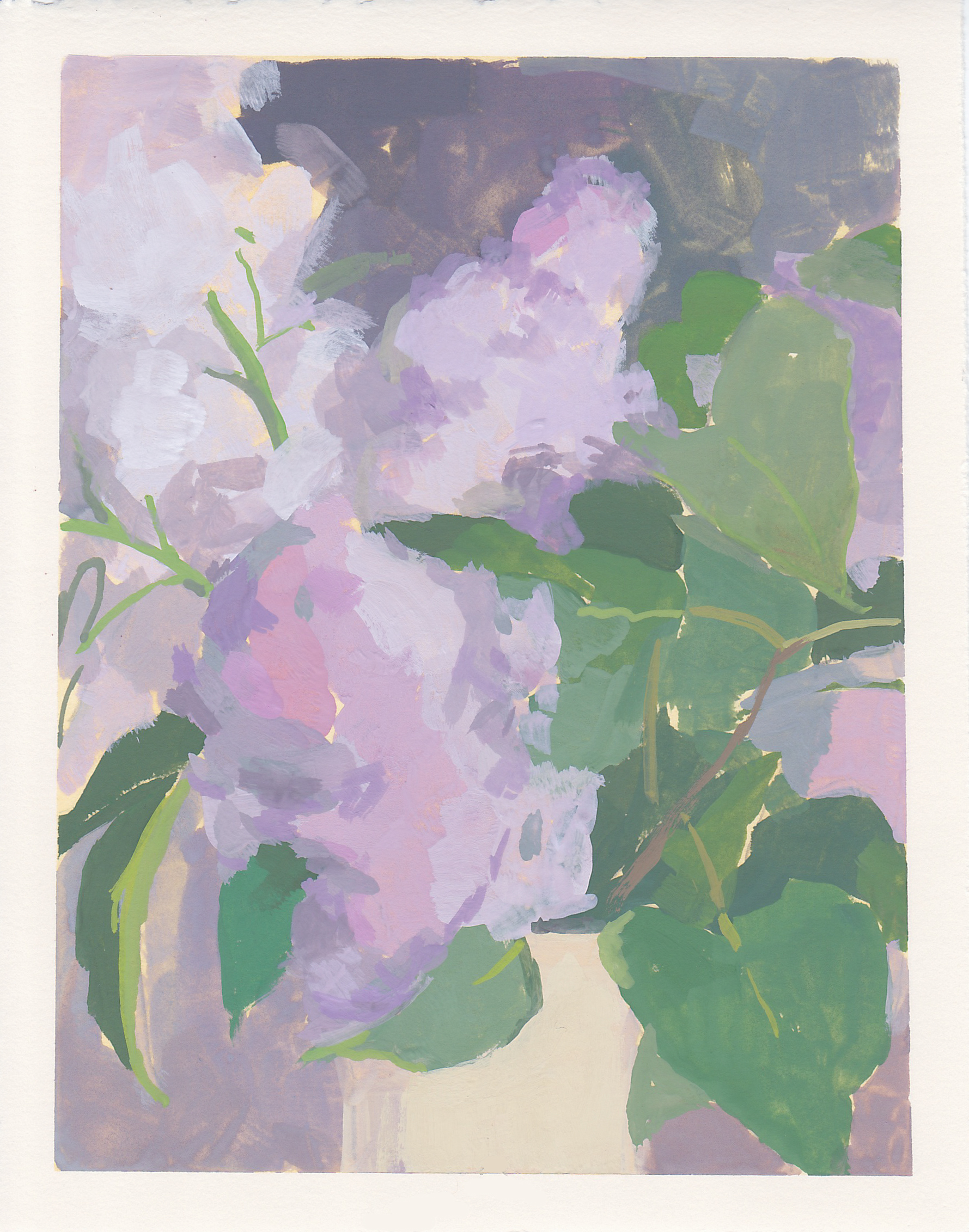 "Lilac Vase  gouache on paper 6.75"" x 5.25"" 2019   purchase original"