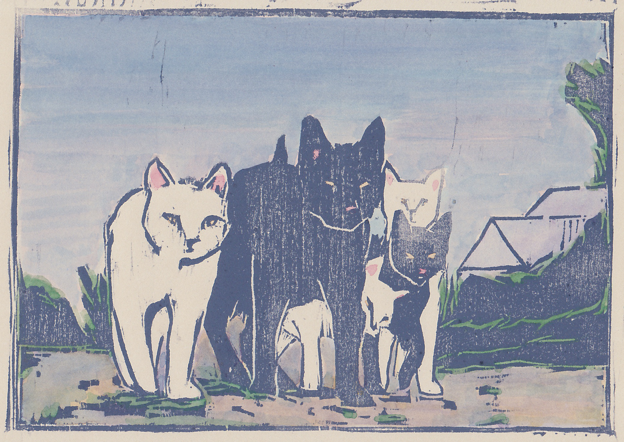 """alley cats  woodblock print with hand-coloring 5x7"""" 2019"""