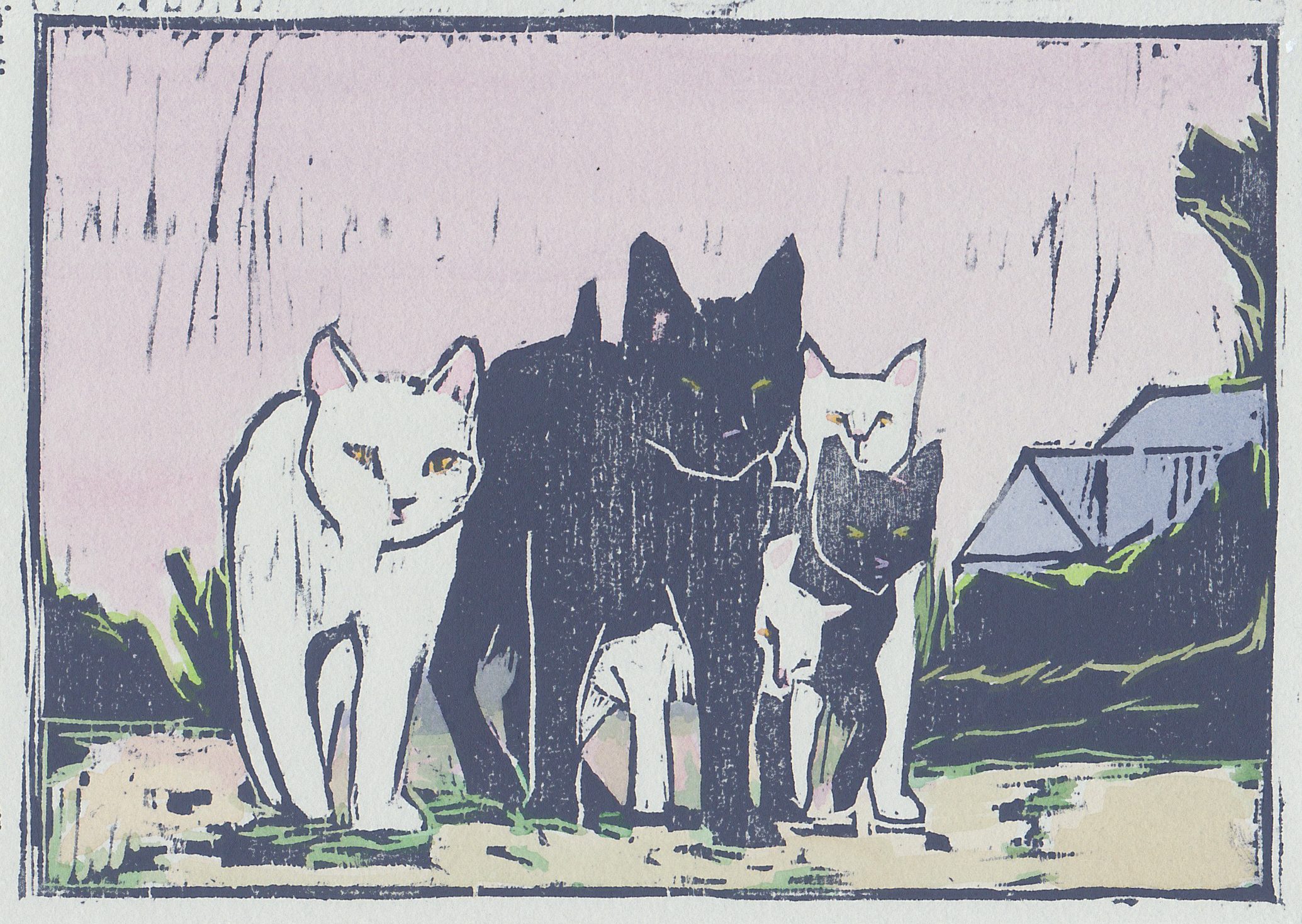 """alley cats  woodblock print with hand-coloring 5x7"""" 2019   purchase"""