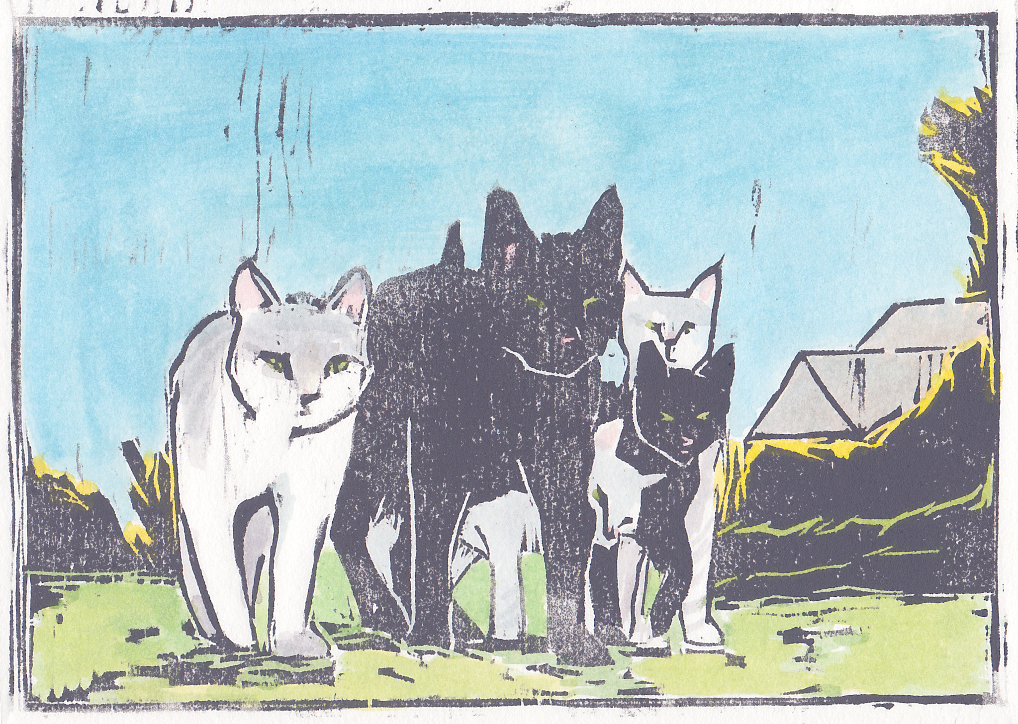 """alley cats  woodblock print with hand-coloring 5x7"""" 2019  private collection Manasquan, NJ"""