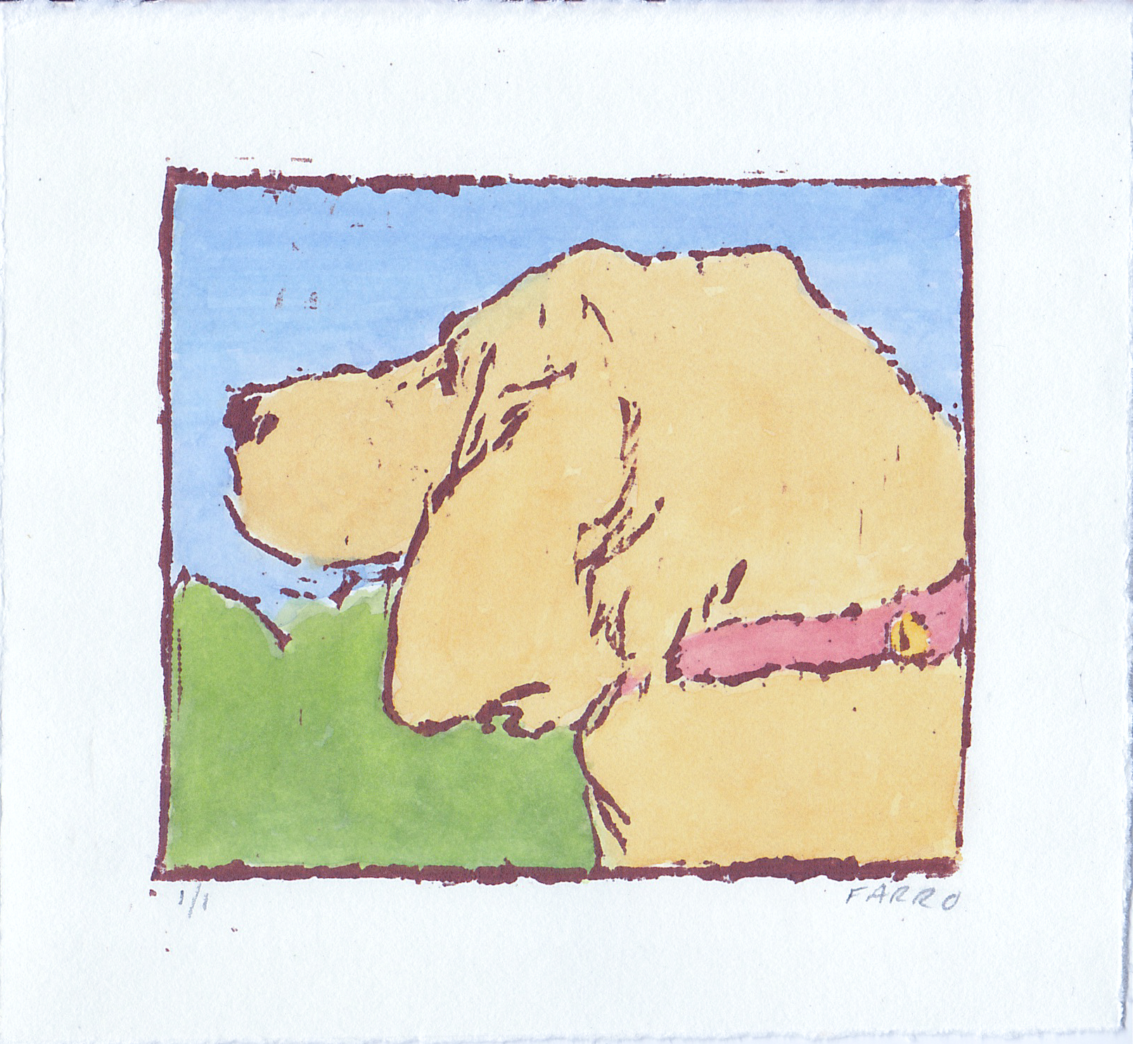 """Hound Dog  woodblock print with hand-coloring edition of 1 3.75"""" x 3.25"""" 2019   purchase"""
