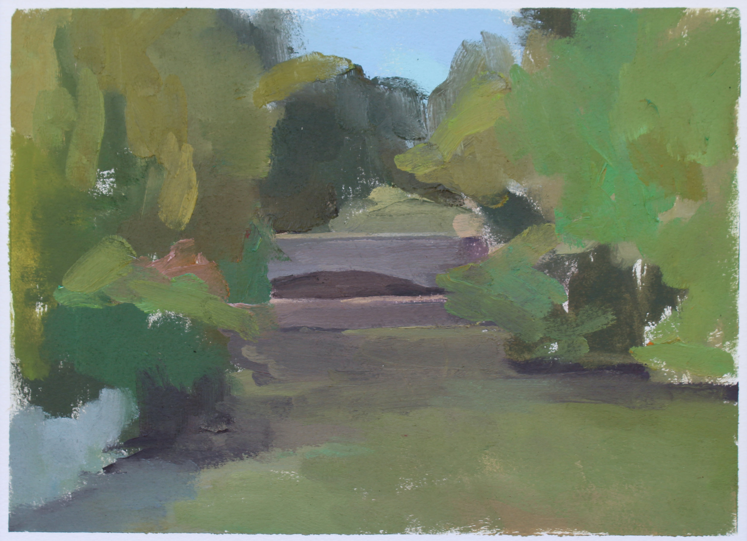"Garden Bridge  oil on paper 7.25"" x 10"" 2017   purchase"
